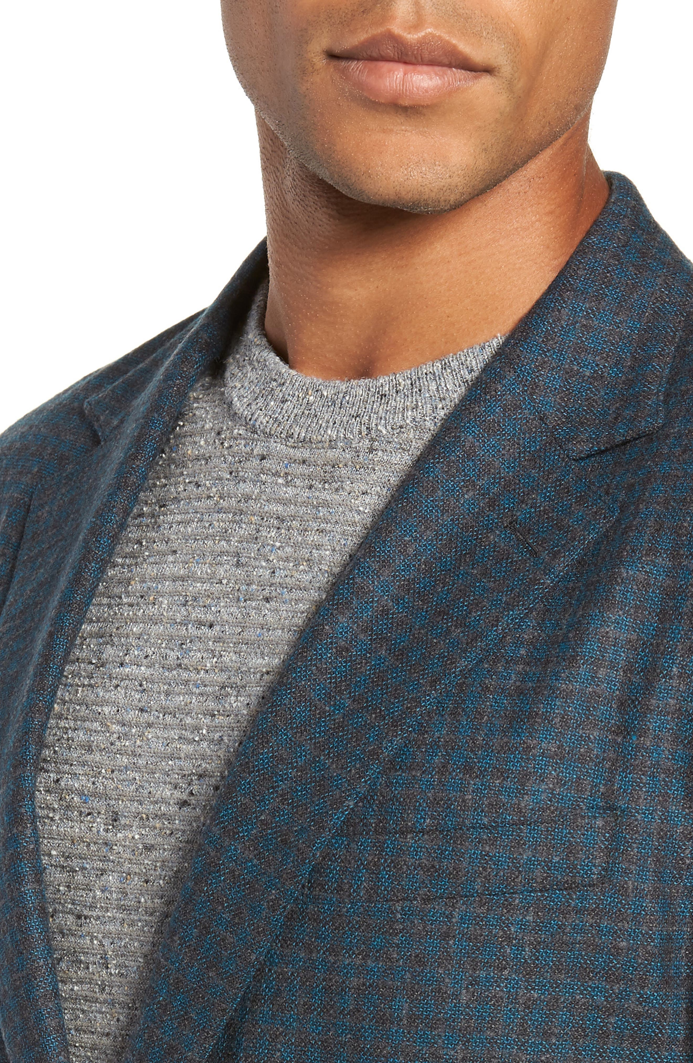 Jetsetter Slim Fit Unconstructed Blazer,                             Alternate thumbnail 4, color,                             TEAL AND GREY PLAID