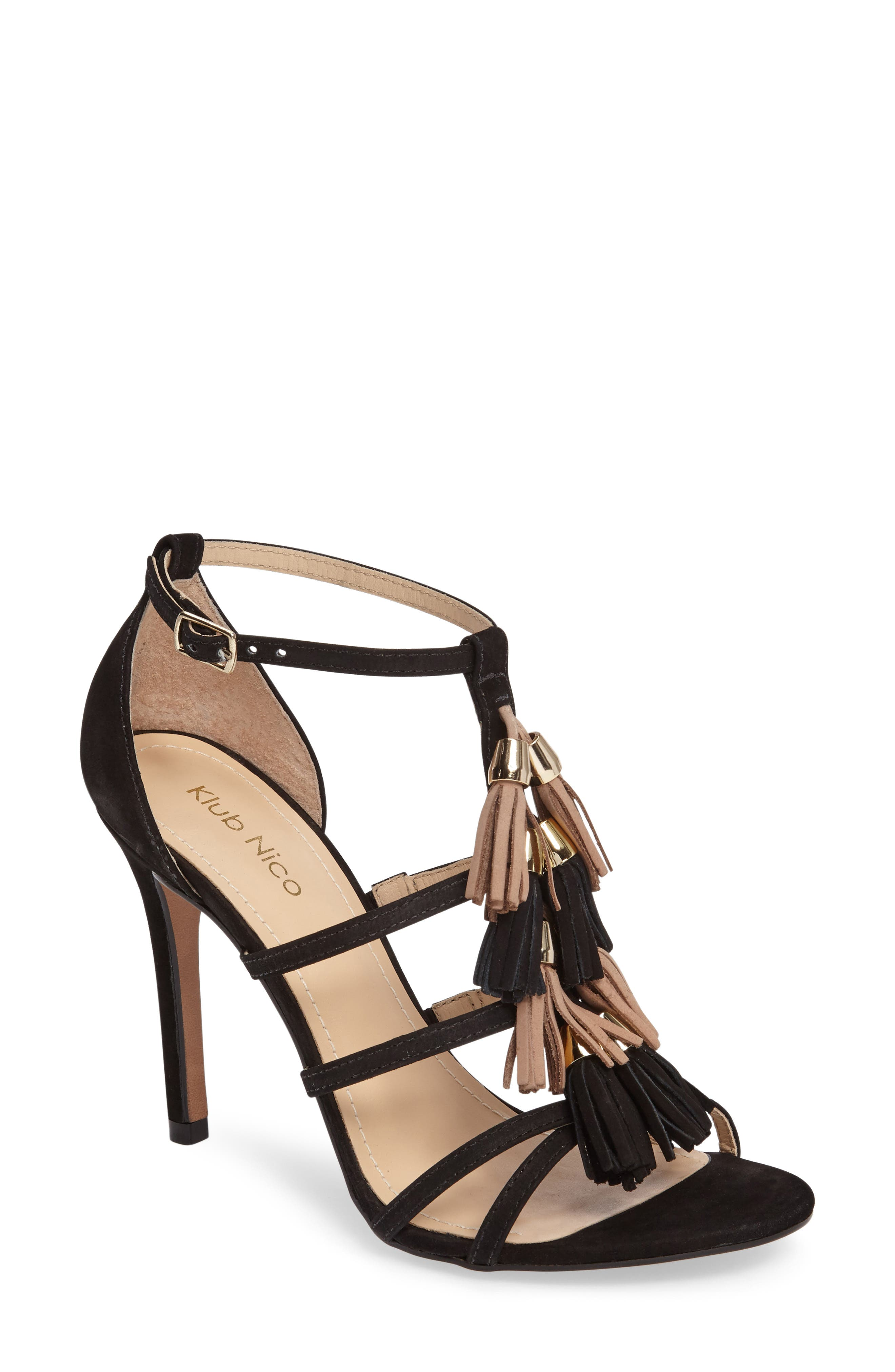 Myra Tassel Sandal,                         Main,                         color, 001