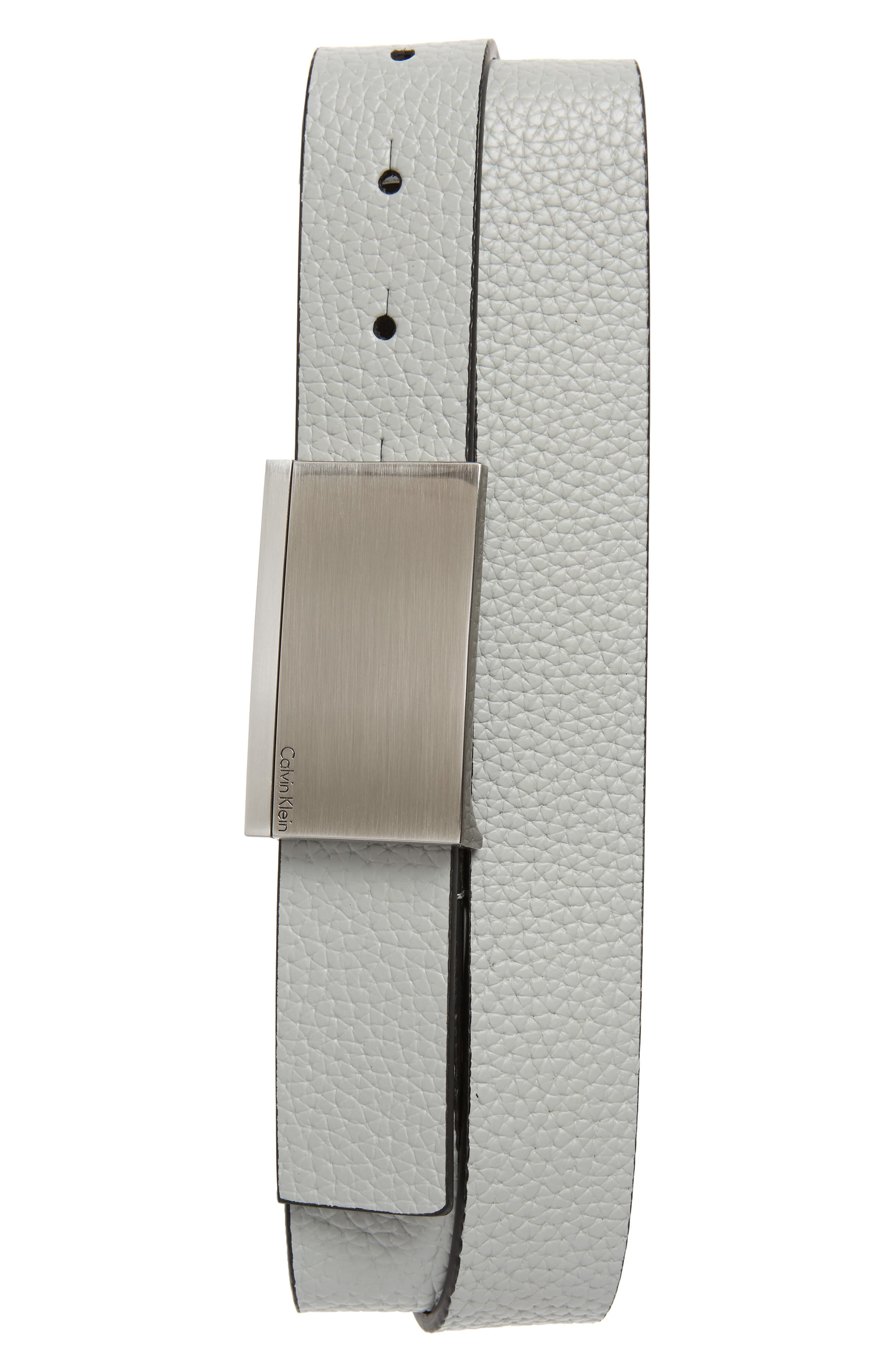 Leather Belt,                         Main,                         color, GREY