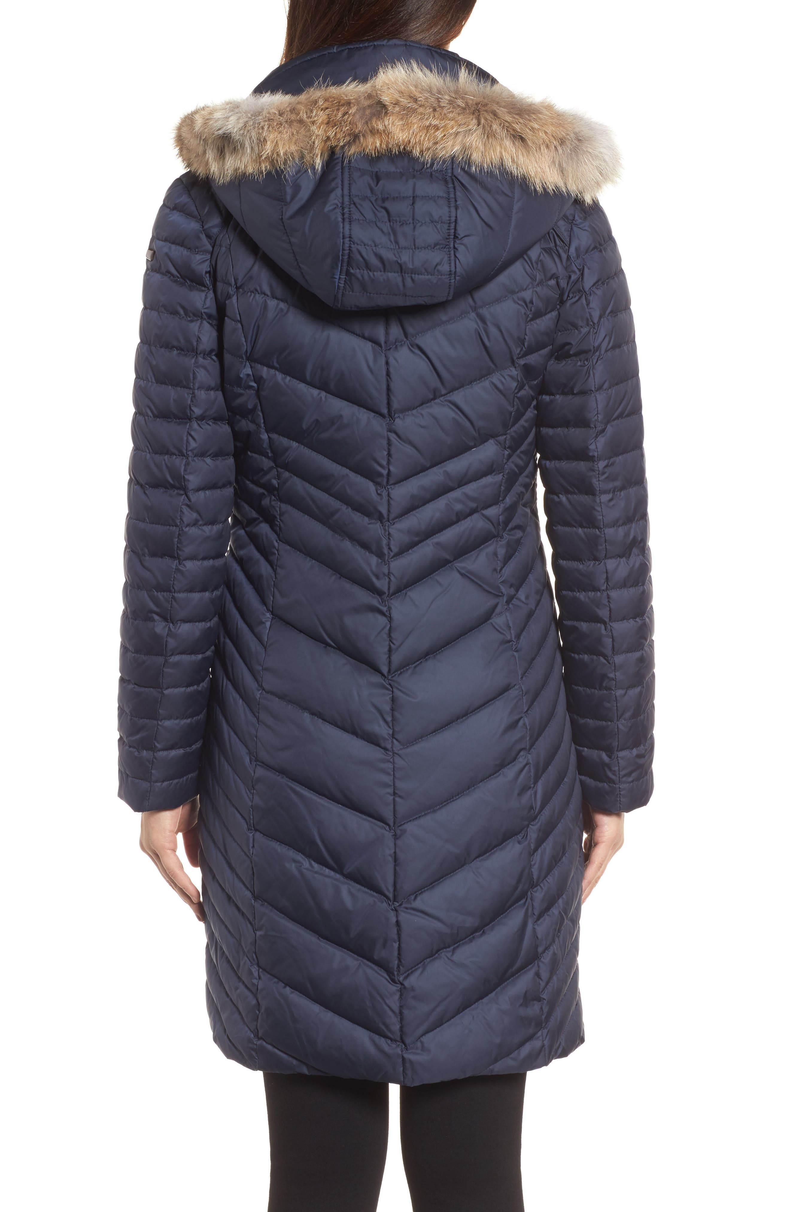 Chevron Quilted Coat with Genuine Coyote Fur Trim,                             Alternate thumbnail 6, color,