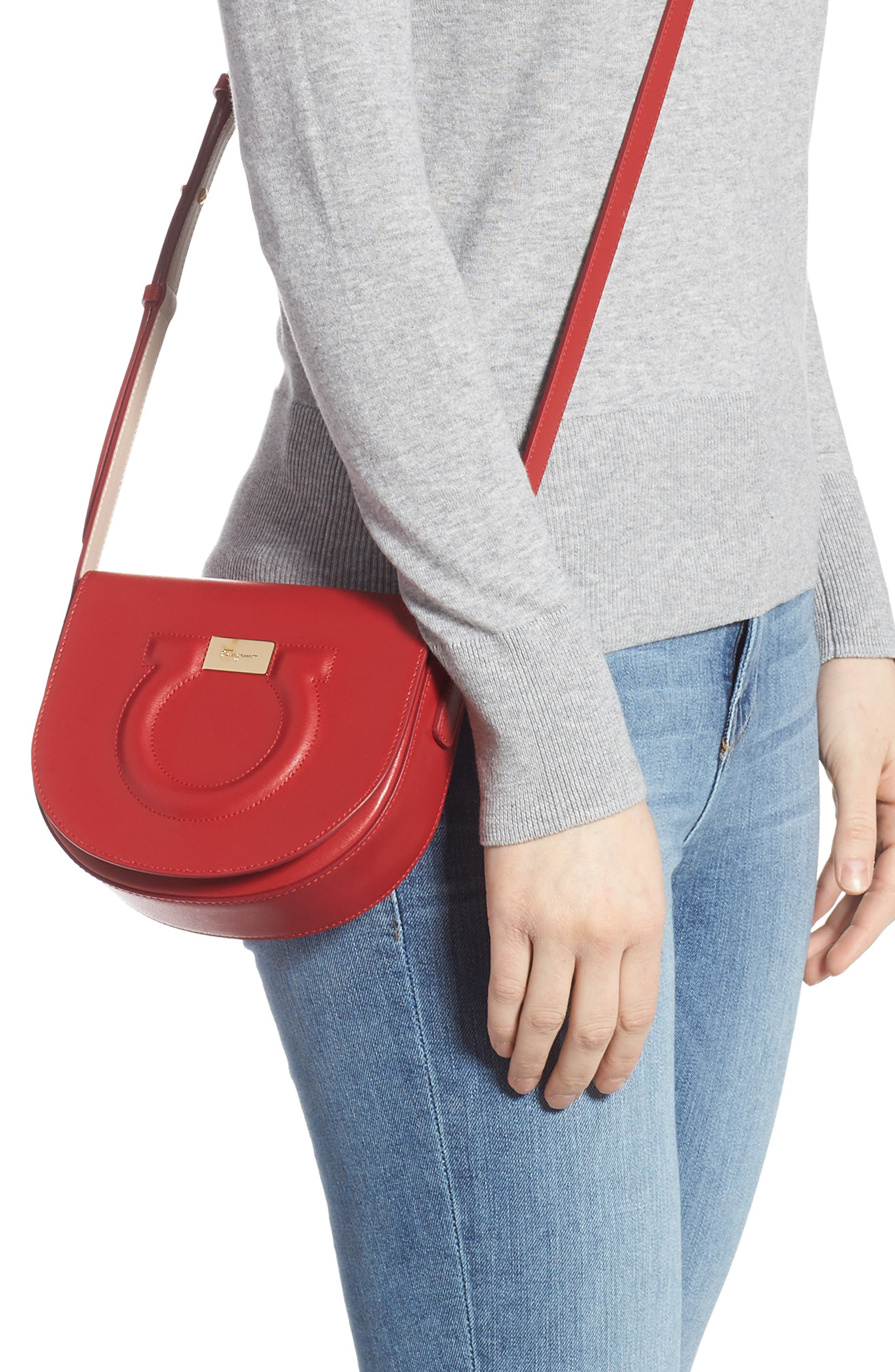 Quilted Gancio Crossbody Bag,                             Alternate thumbnail 2, color,                             LIPSTICK RED