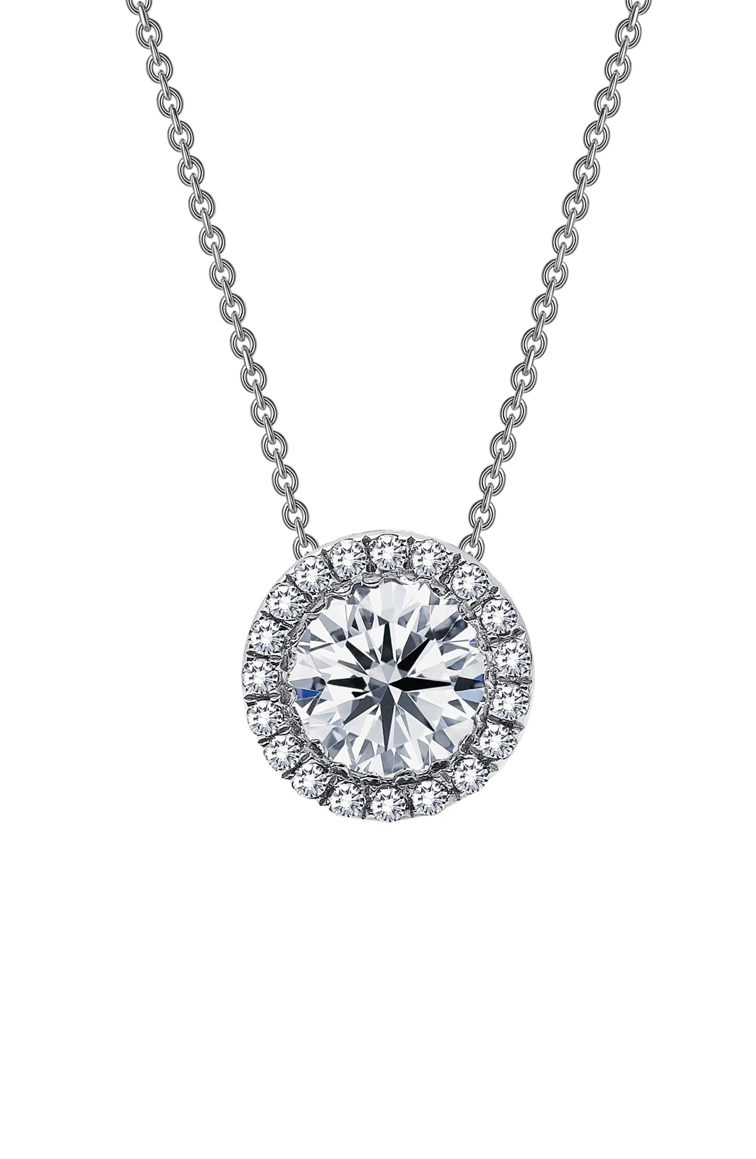 Simulated Diamond Pendant Necklace,                         Main,                         color, SILVER