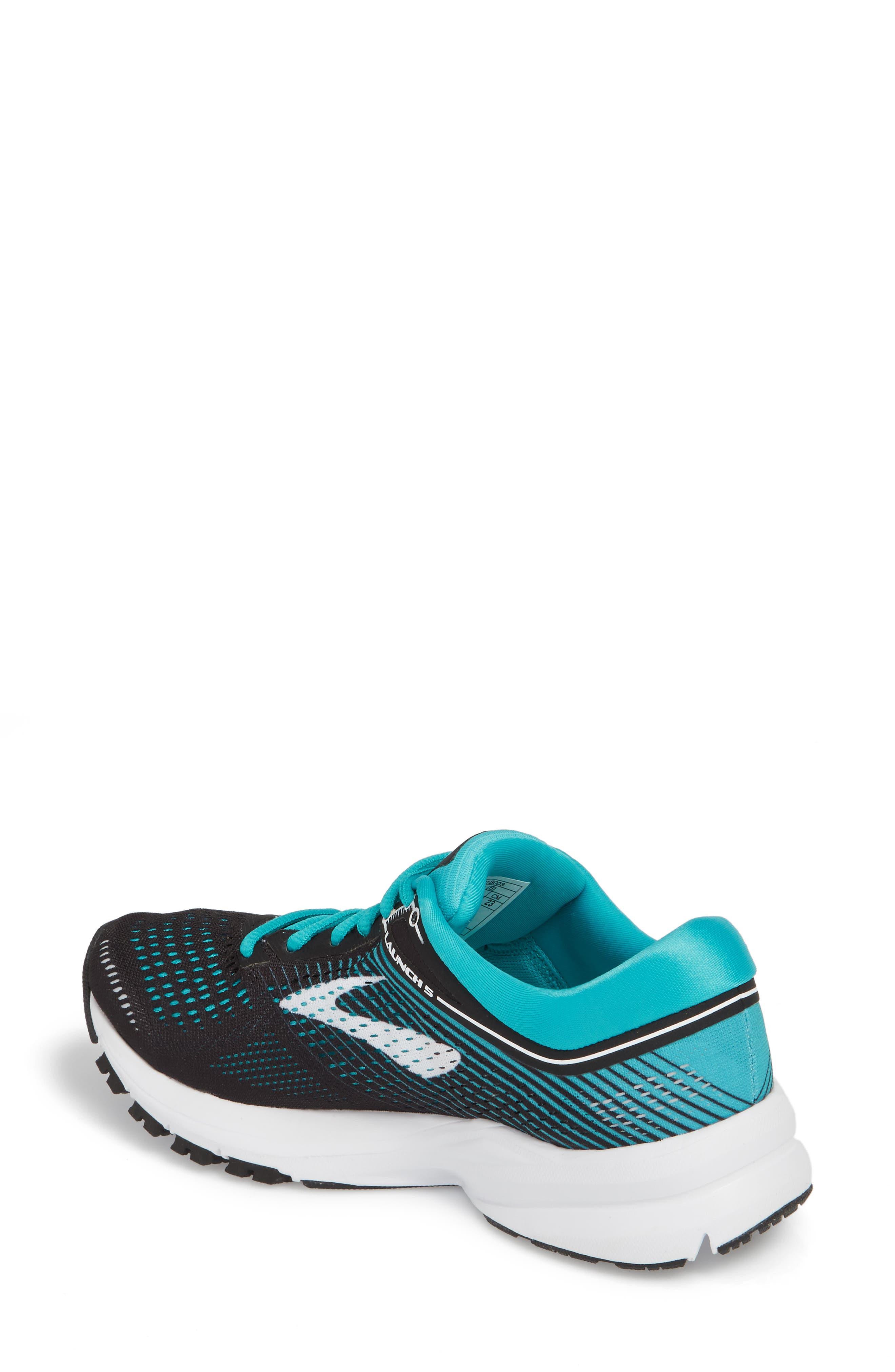 BROOKS,                             Launch 5 Running Shoe,                             Alternate thumbnail 2, color,                             BLACK/ TEAL GREEN/ WHITE