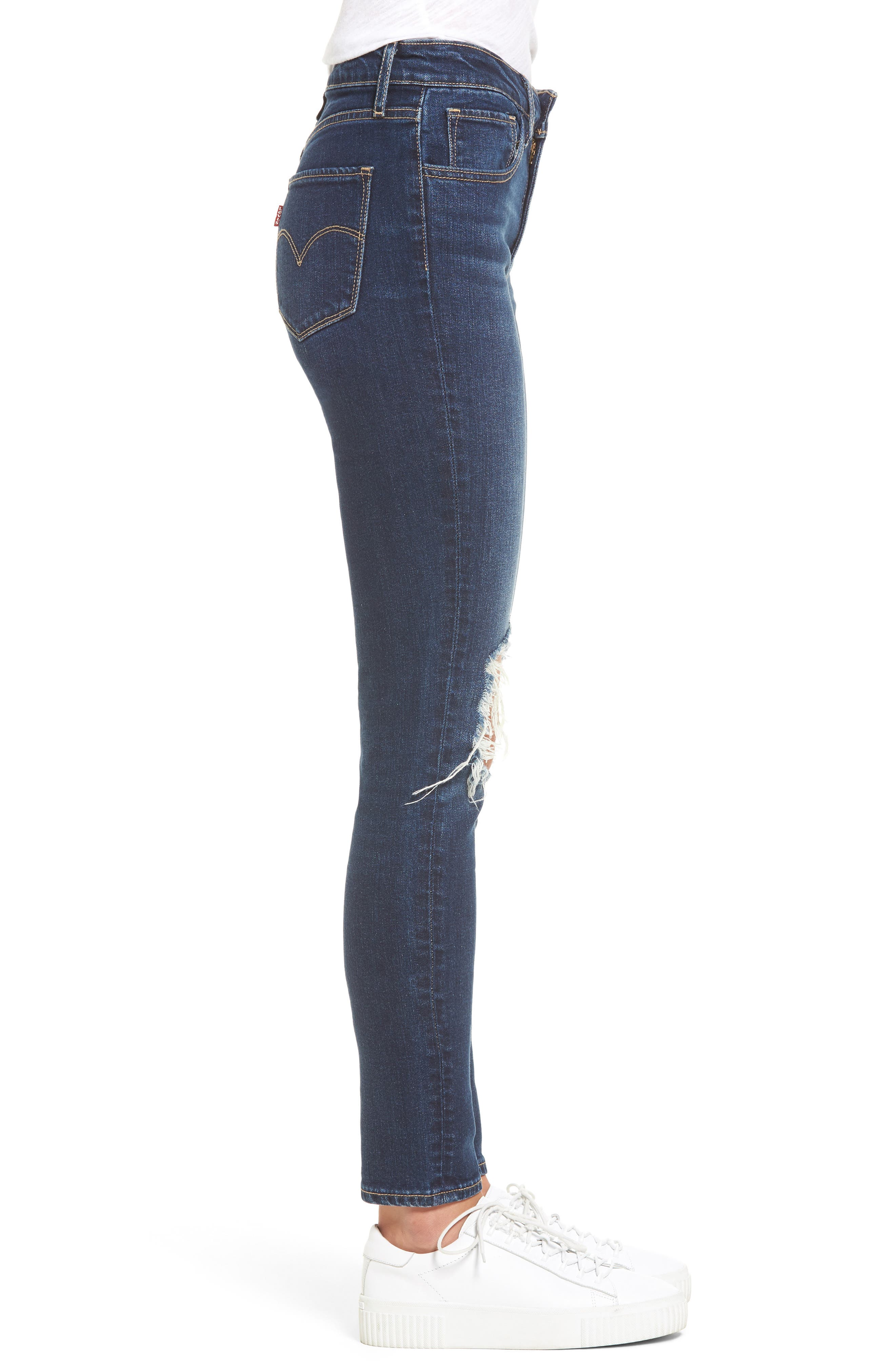 721 Ripped High Waist Skinny Jeans,                             Alternate thumbnail 3, color,                             420