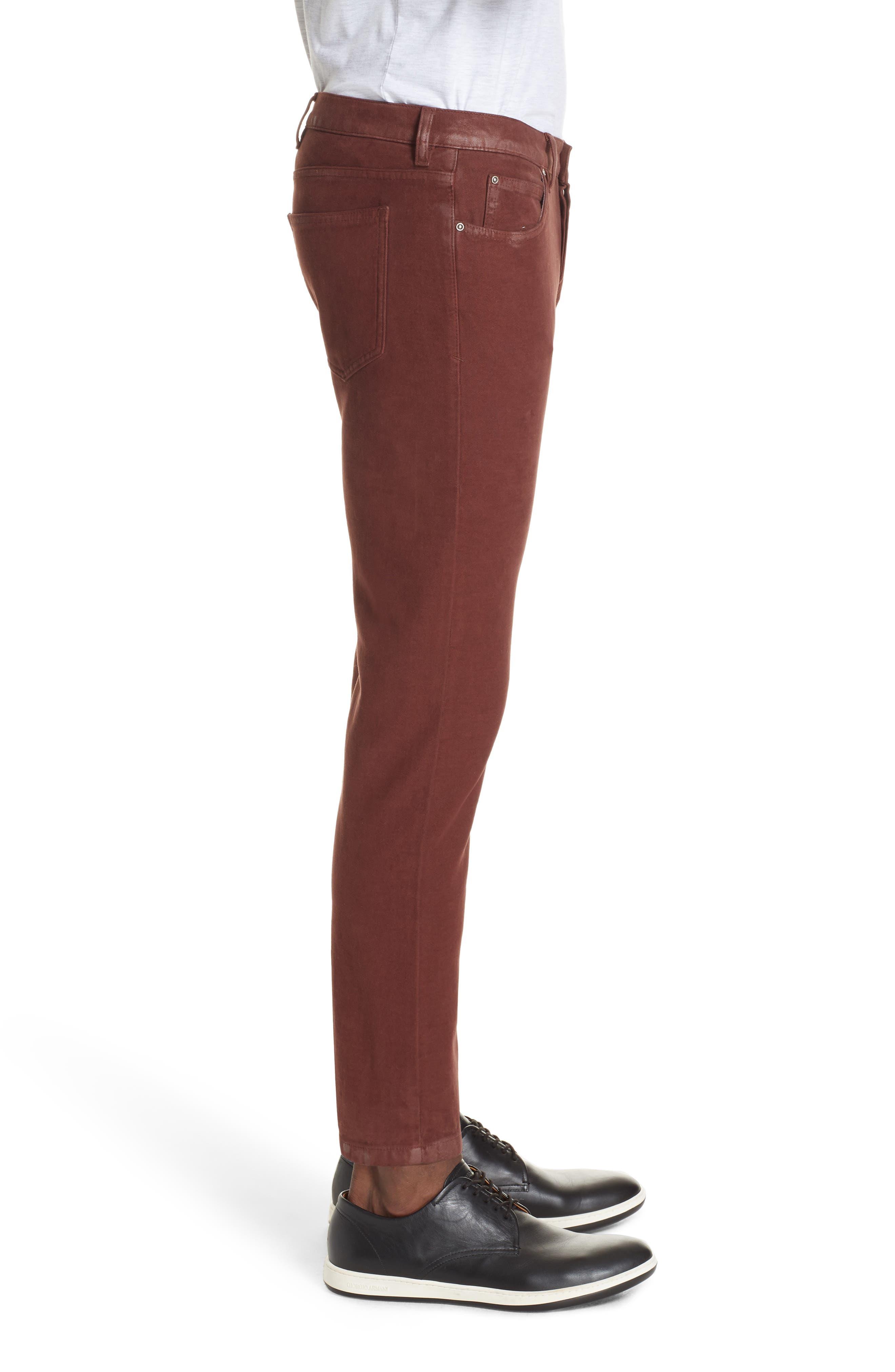 Slim Fit Stretch Cotton Five Pocket Trousers,                             Alternate thumbnail 3, color,                             OCHRE