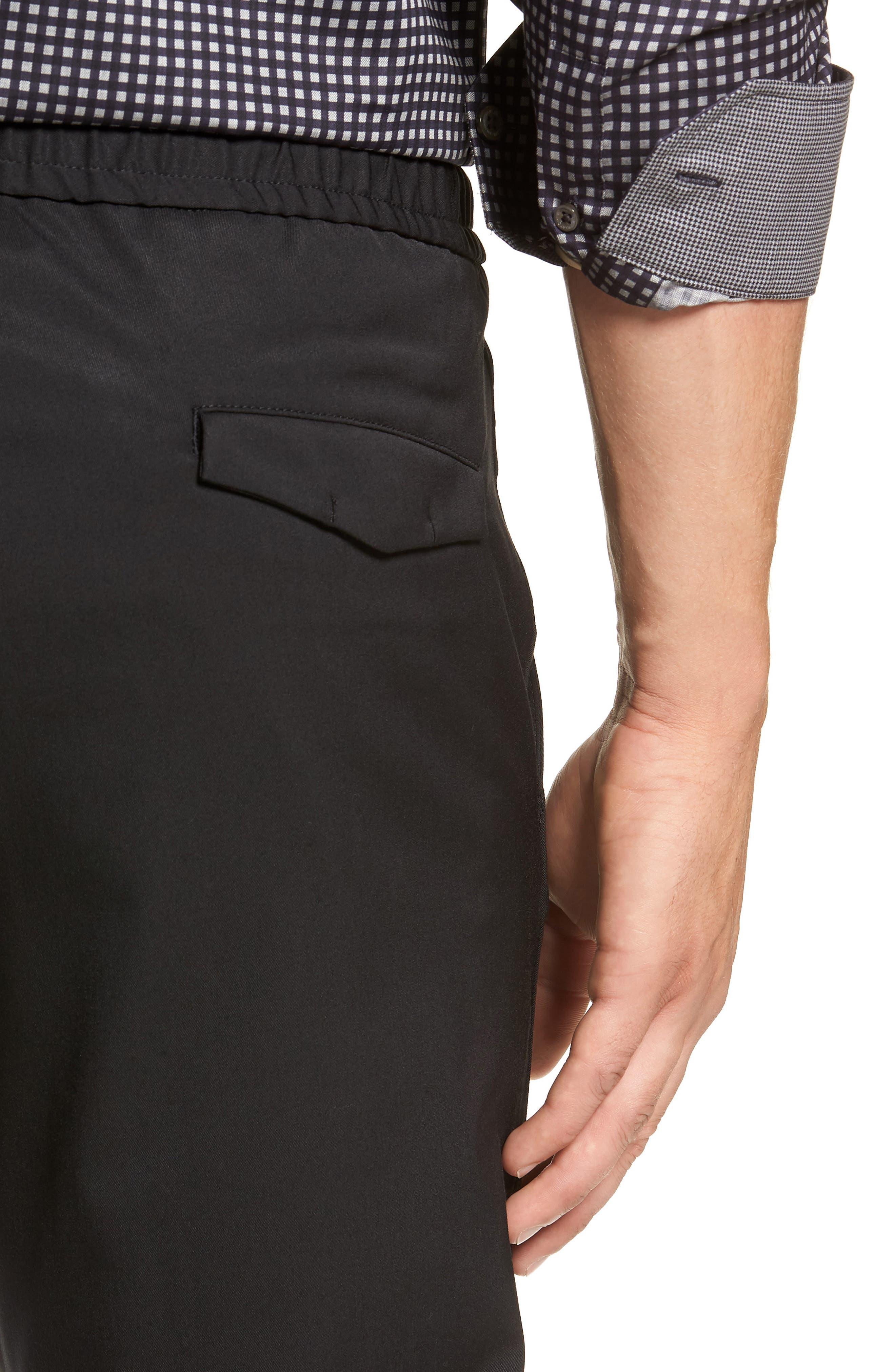 Drawstring Flat Front Pants,                             Alternate thumbnail 4, color,                             BLACK