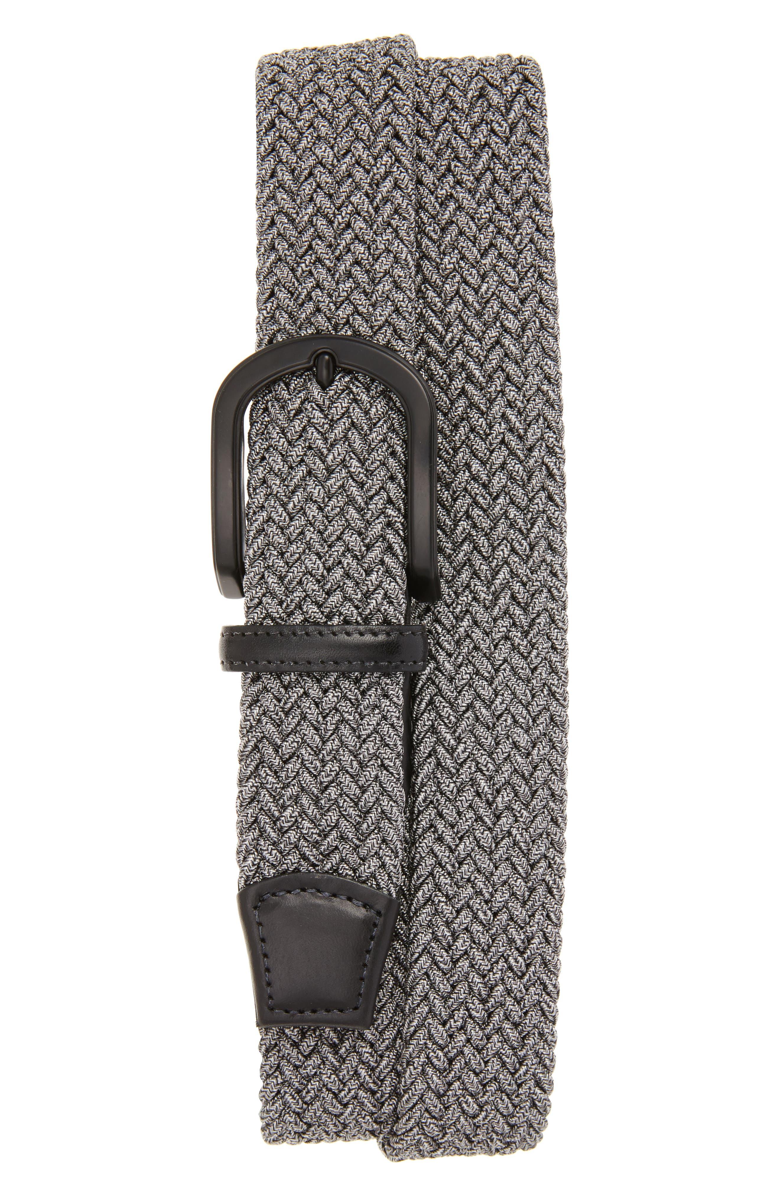 Braided Mélange Belts,                             Main thumbnail 1, color,                             GREY