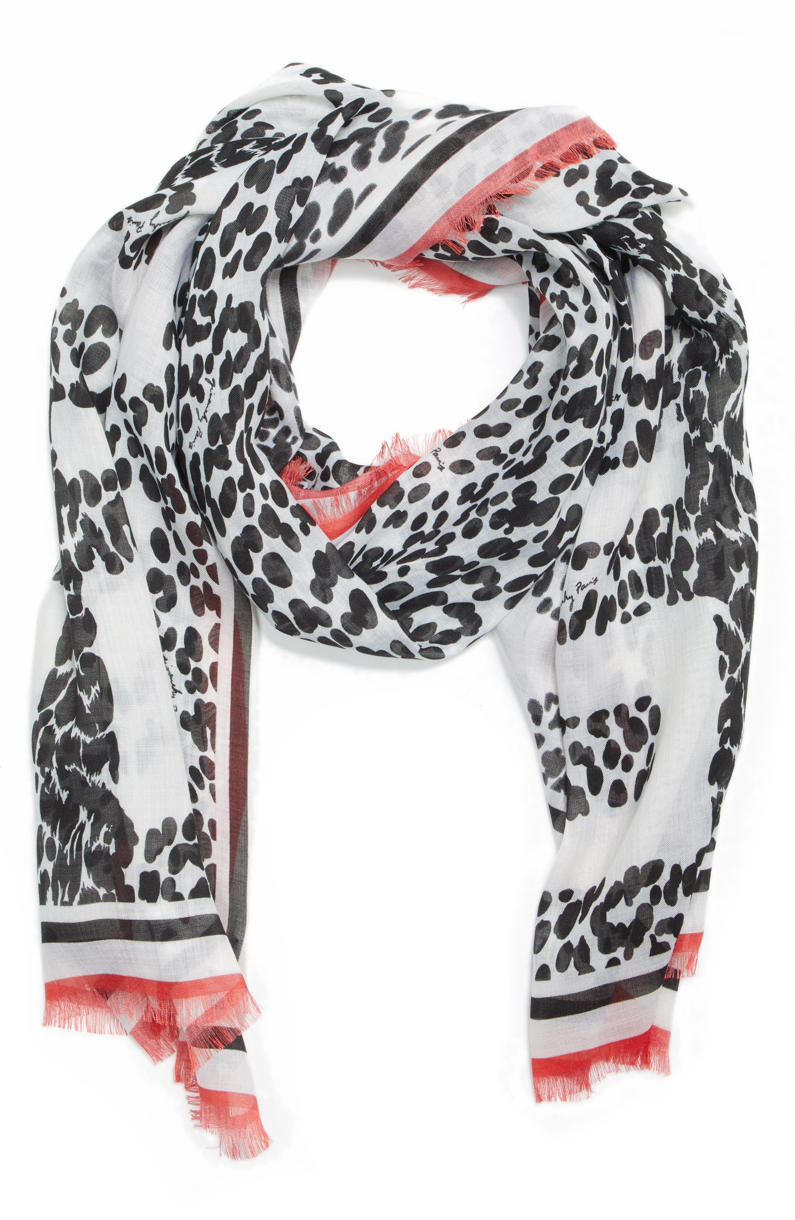 4G Leopard Cashmere & Silk Scarf,                             Alternate thumbnail 3, color,                             BLACK/ WHITE