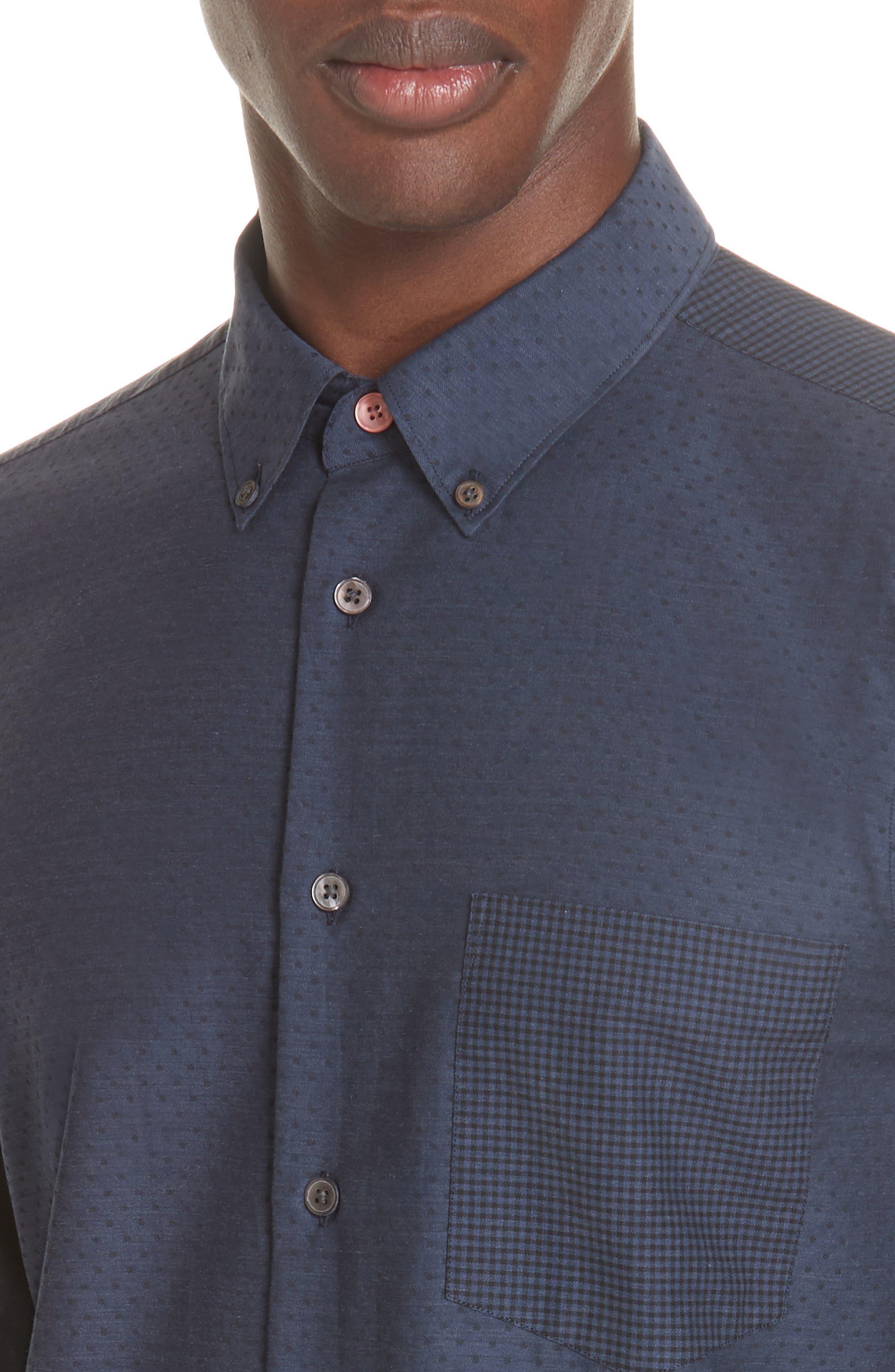 Mixed Print Sport Shirt,                             Alternate thumbnail 2, color,                             NAVY