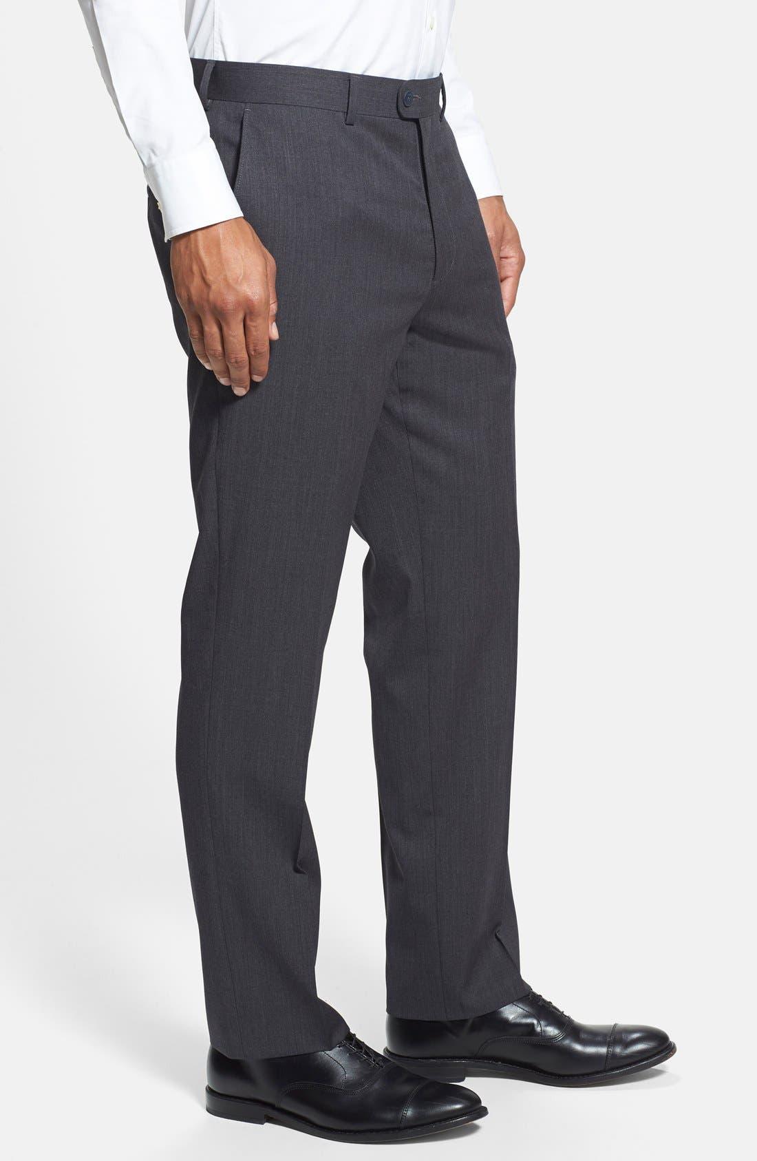 Gab Trim Fit Flat Front Pants,                             Alternate thumbnail 10, color,                             002