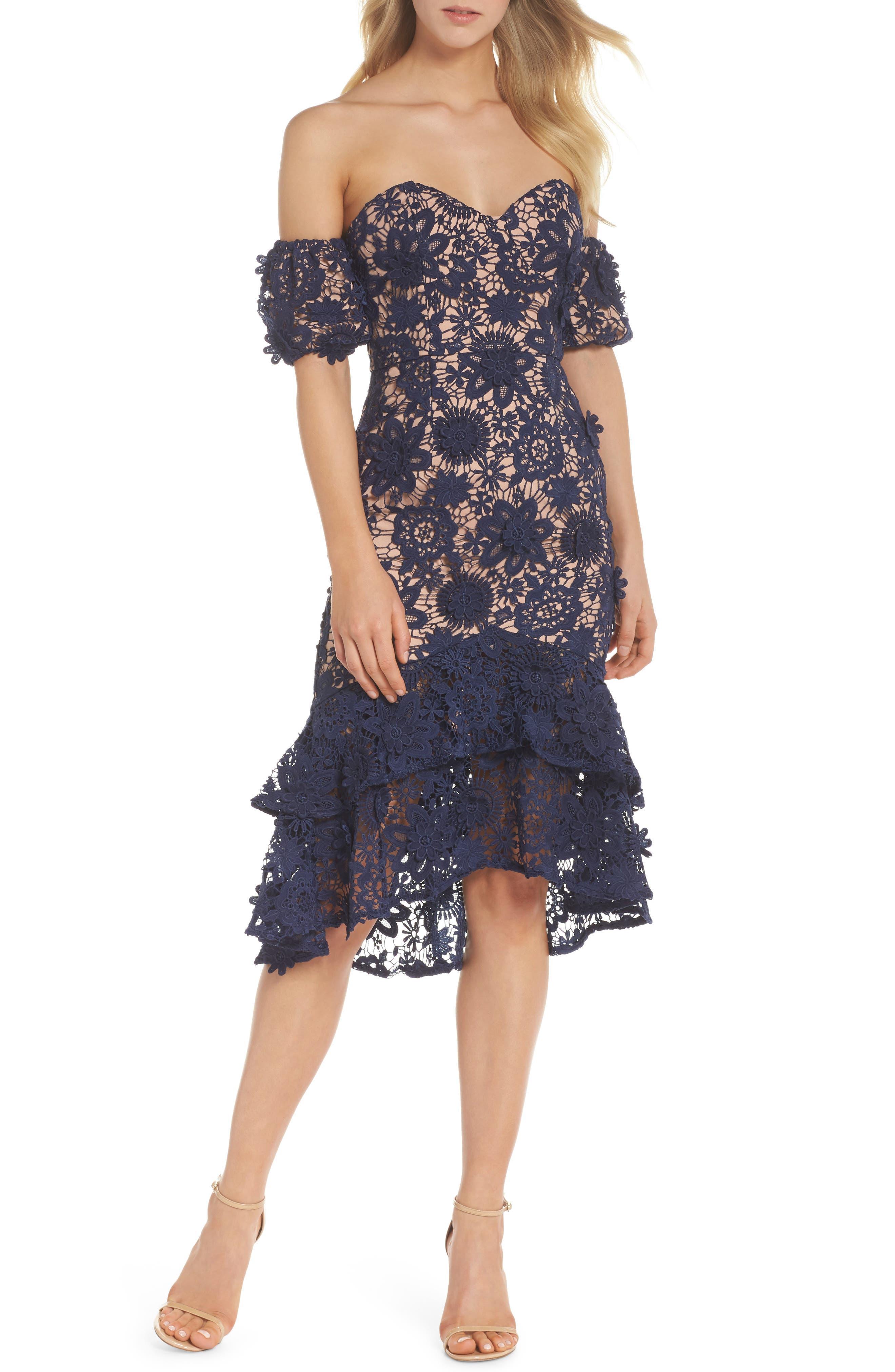 Merrilee Off the Shoulder 3D Lace Dress,                         Main,                         color, NAVY