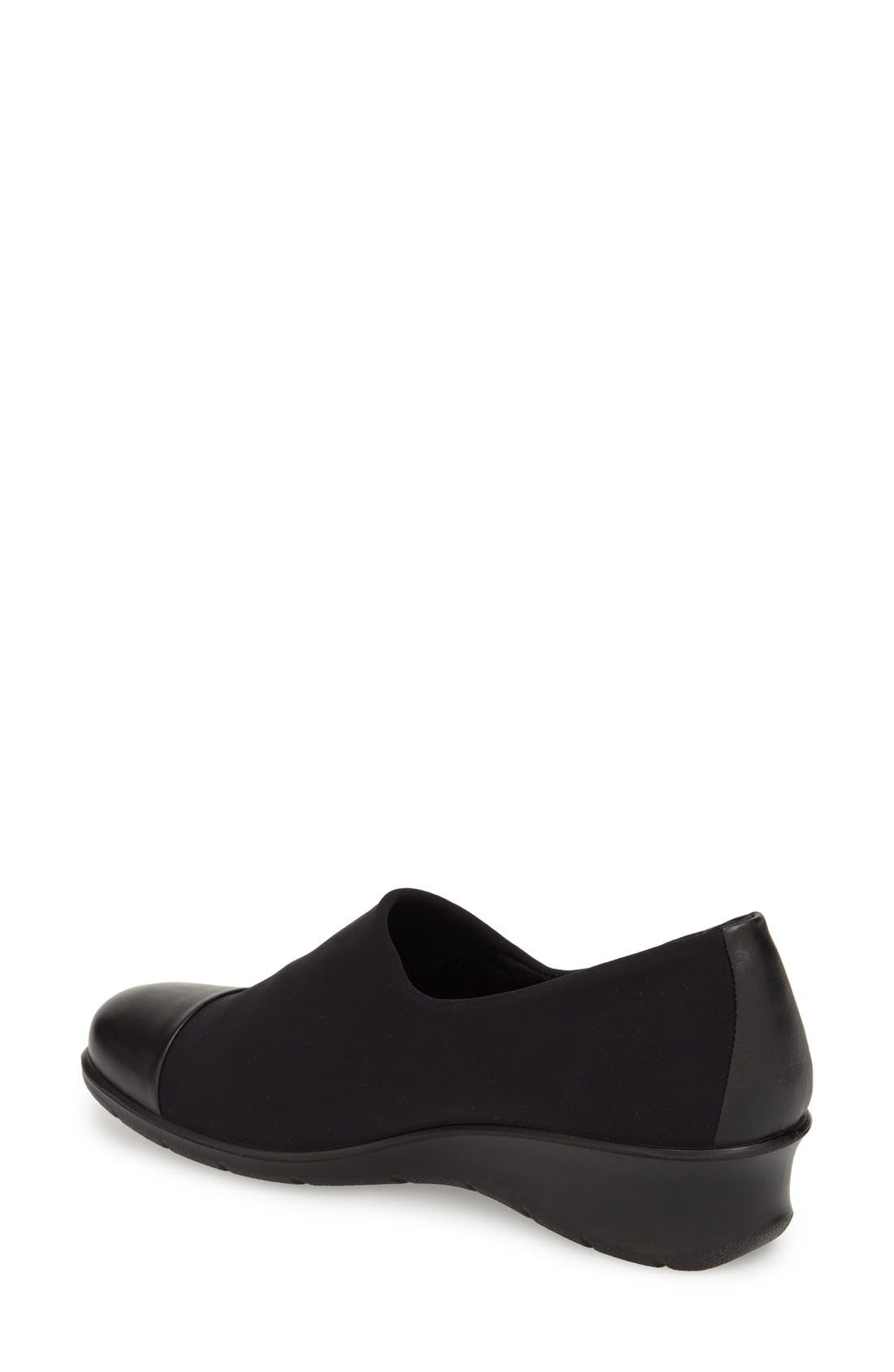 'Felicia GTX' Waterproof Wedge Loafer,                             Alternate thumbnail 4, color,                             BLACK GORE FABRIC
