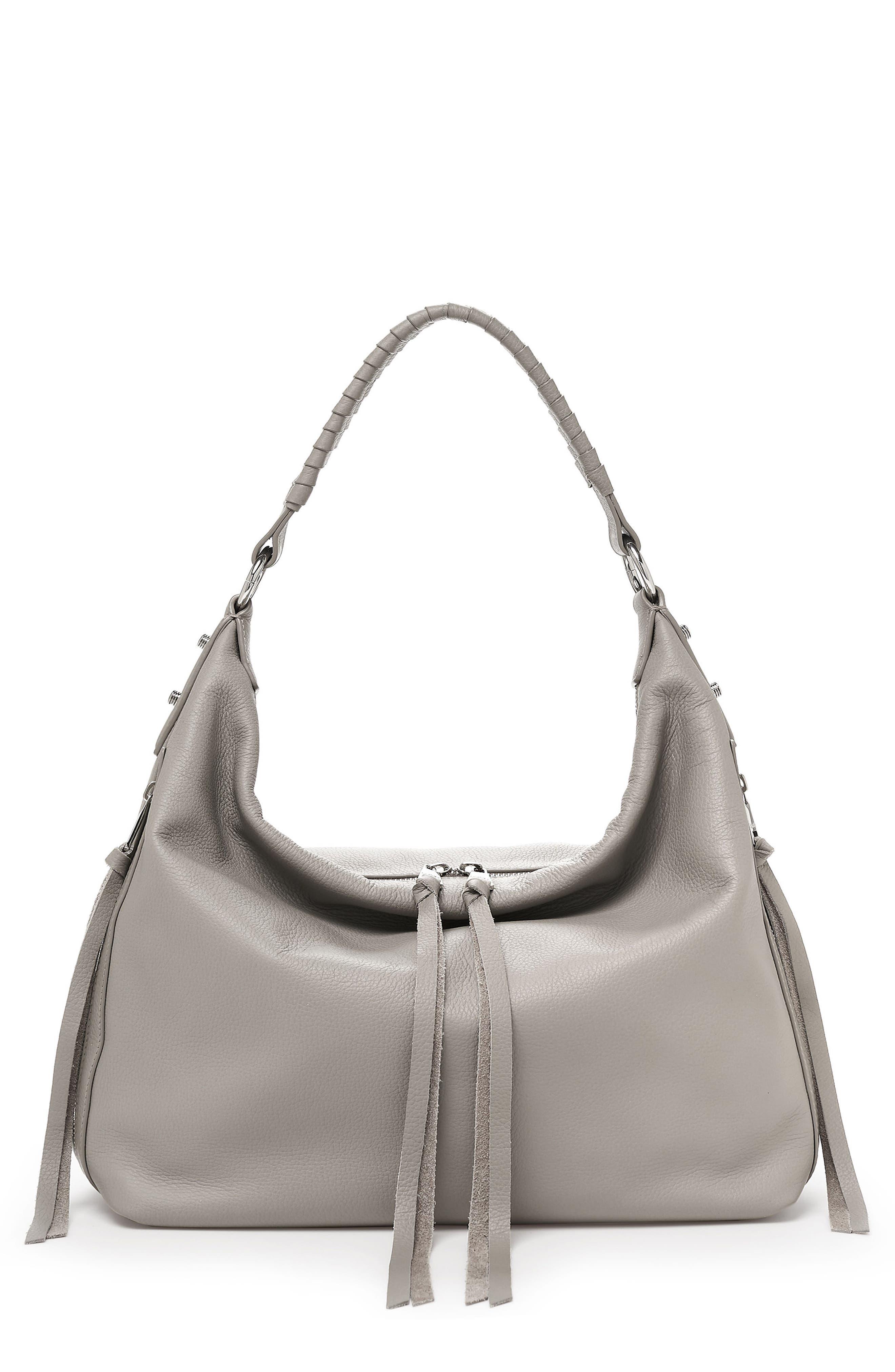 Samantha Leather Hobo Bag,                         Main,                         color, GREY