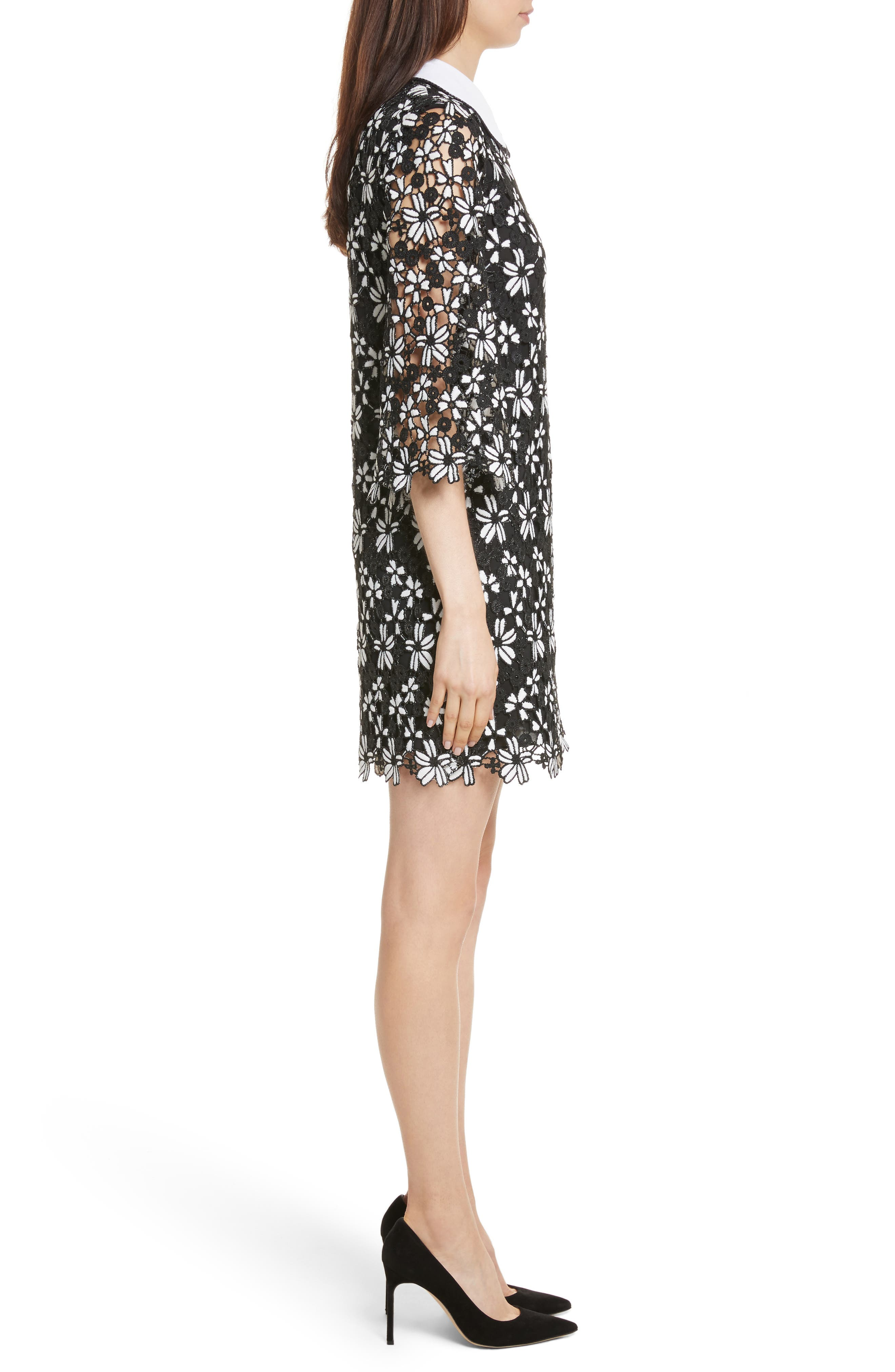 Debra Collared Lace Tunic Dress,                             Alternate thumbnail 3, color,                             009