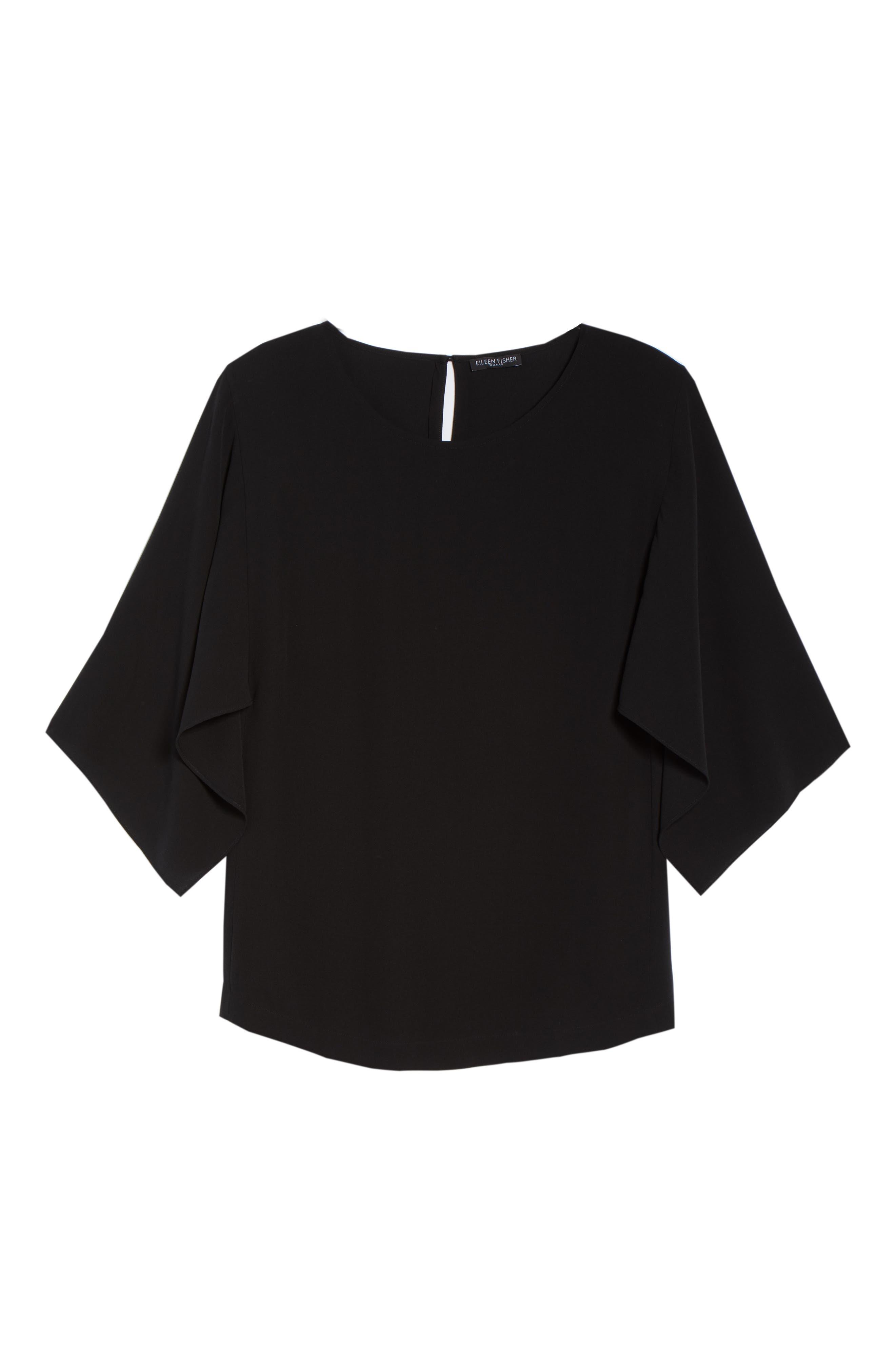 Slit Sleeve Silk Top,                             Alternate thumbnail 7, color,                             001