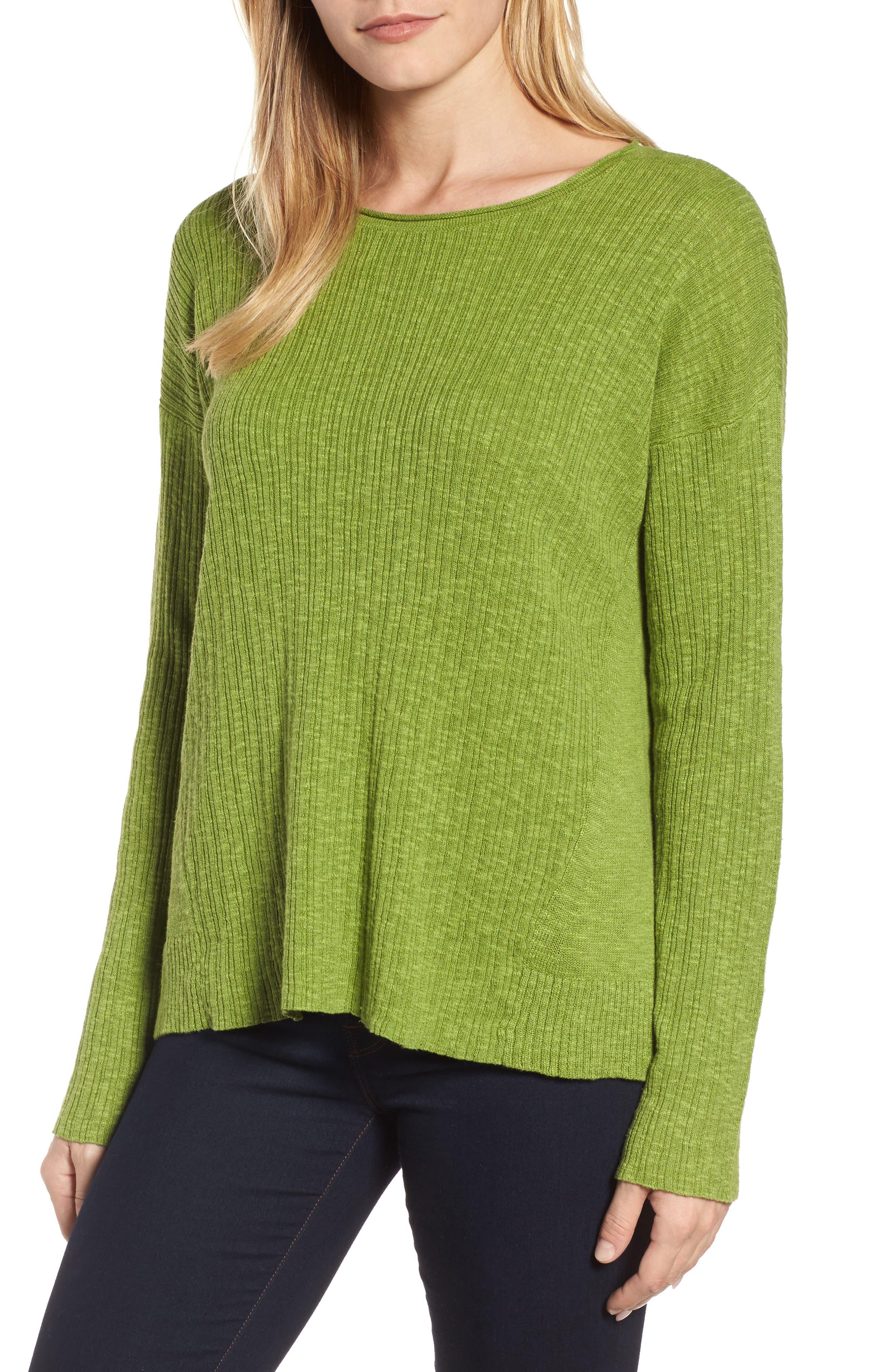 Organic Linen & Cotton Crewneck Sweater,                             Main thumbnail 3, color,
