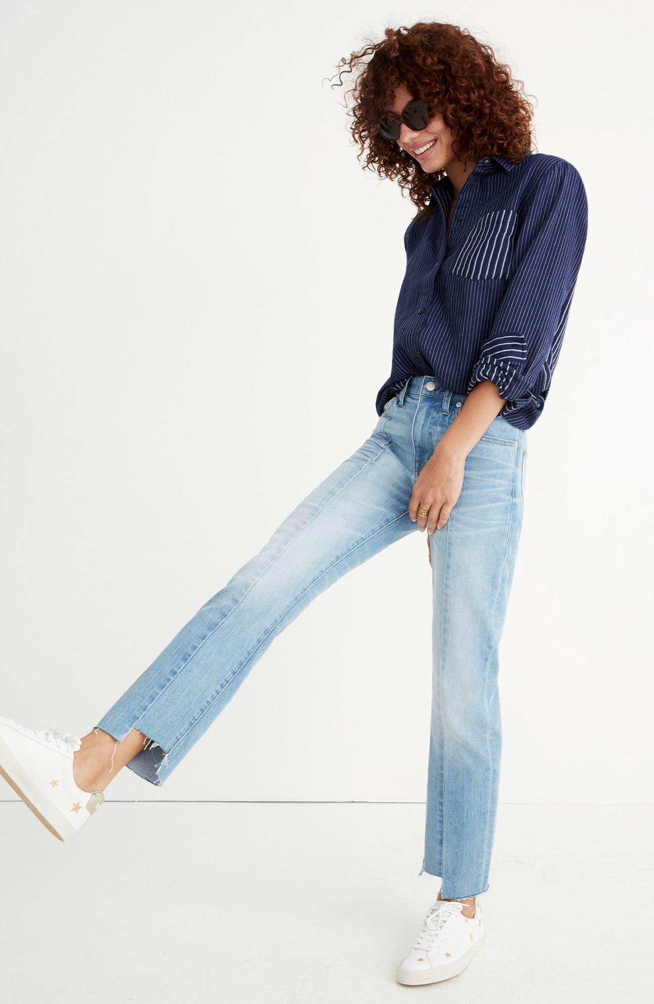 Cruiser Pieced High Waist Straight Leg Jeans,                             Alternate thumbnail 7, color,                             400
