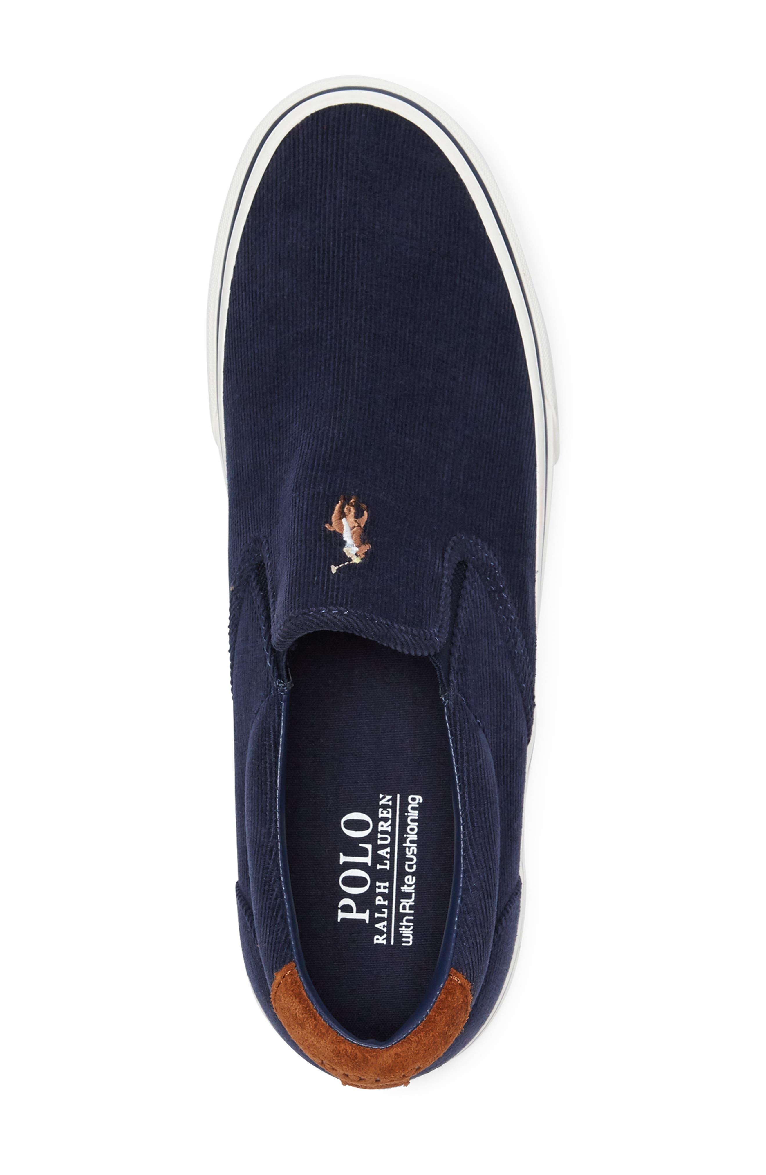 Thompson Corduroy Slip-On Sneaker,                             Alternate thumbnail 3, color,                             NAVY