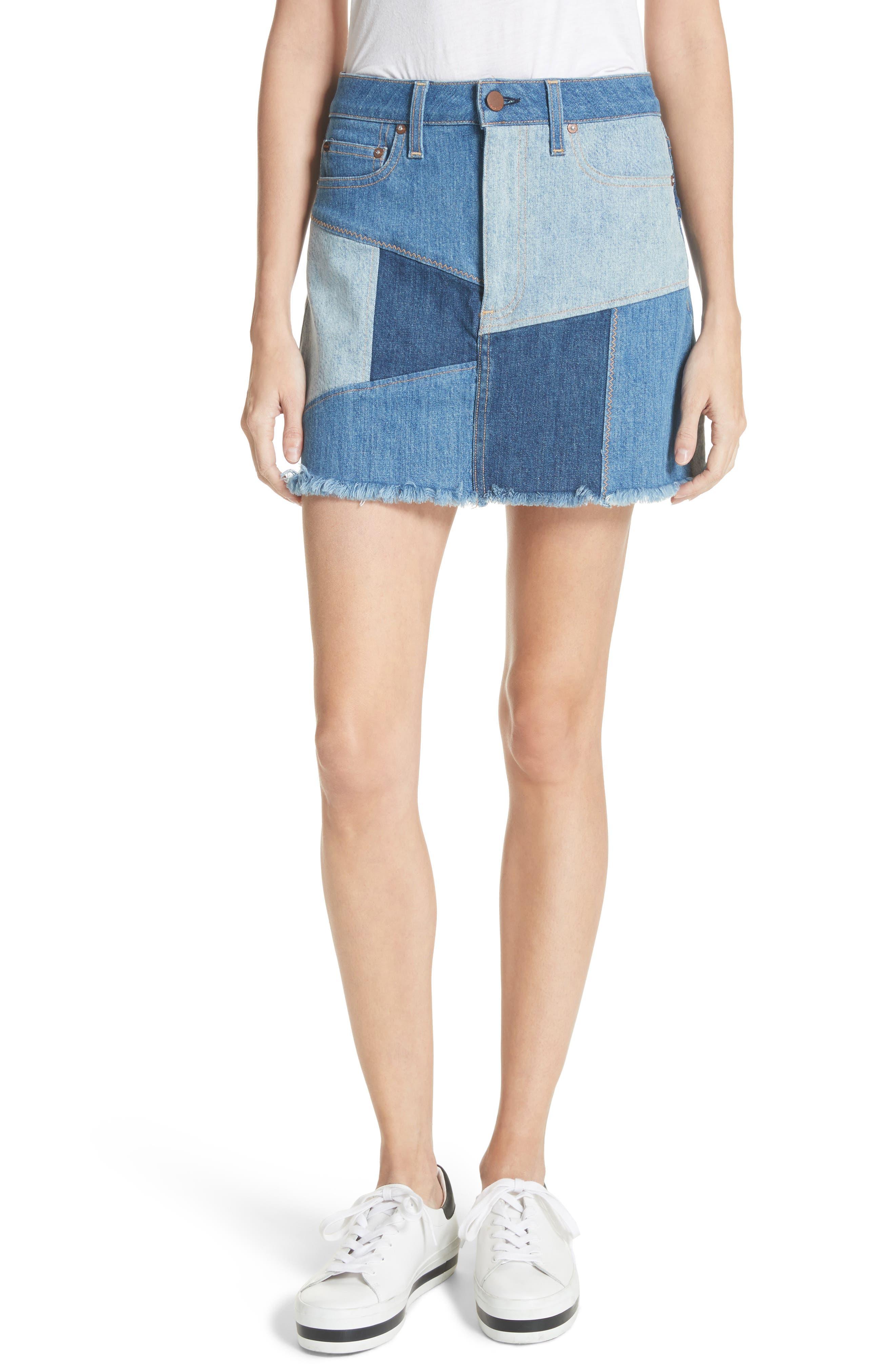 AO.LA Patchwork Denim Miniskirt,                             Main thumbnail 1, color,                             485