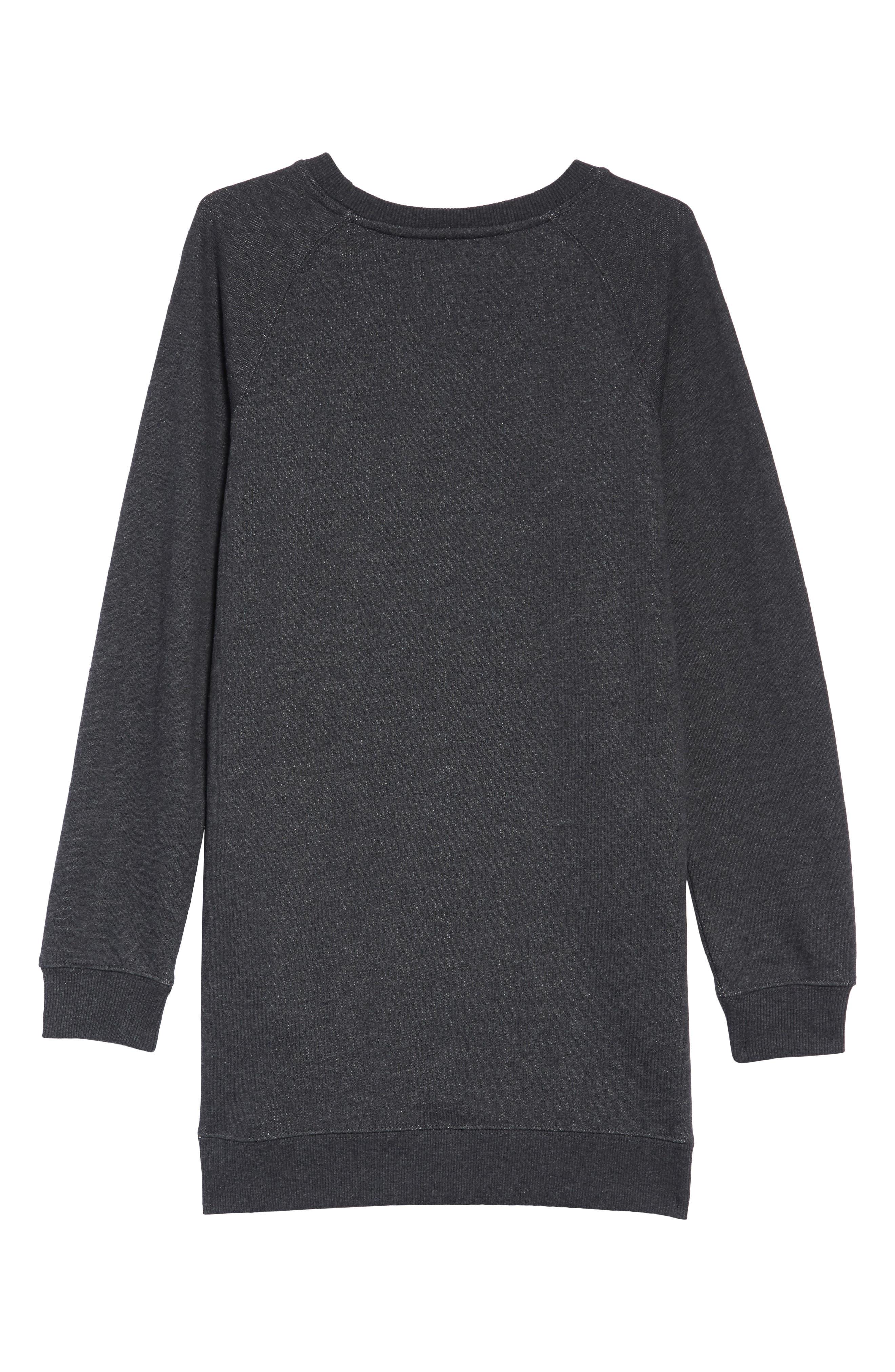 Sweatshirt Dress,                             Alternate thumbnail 2, color,                             BLACK HEATHER