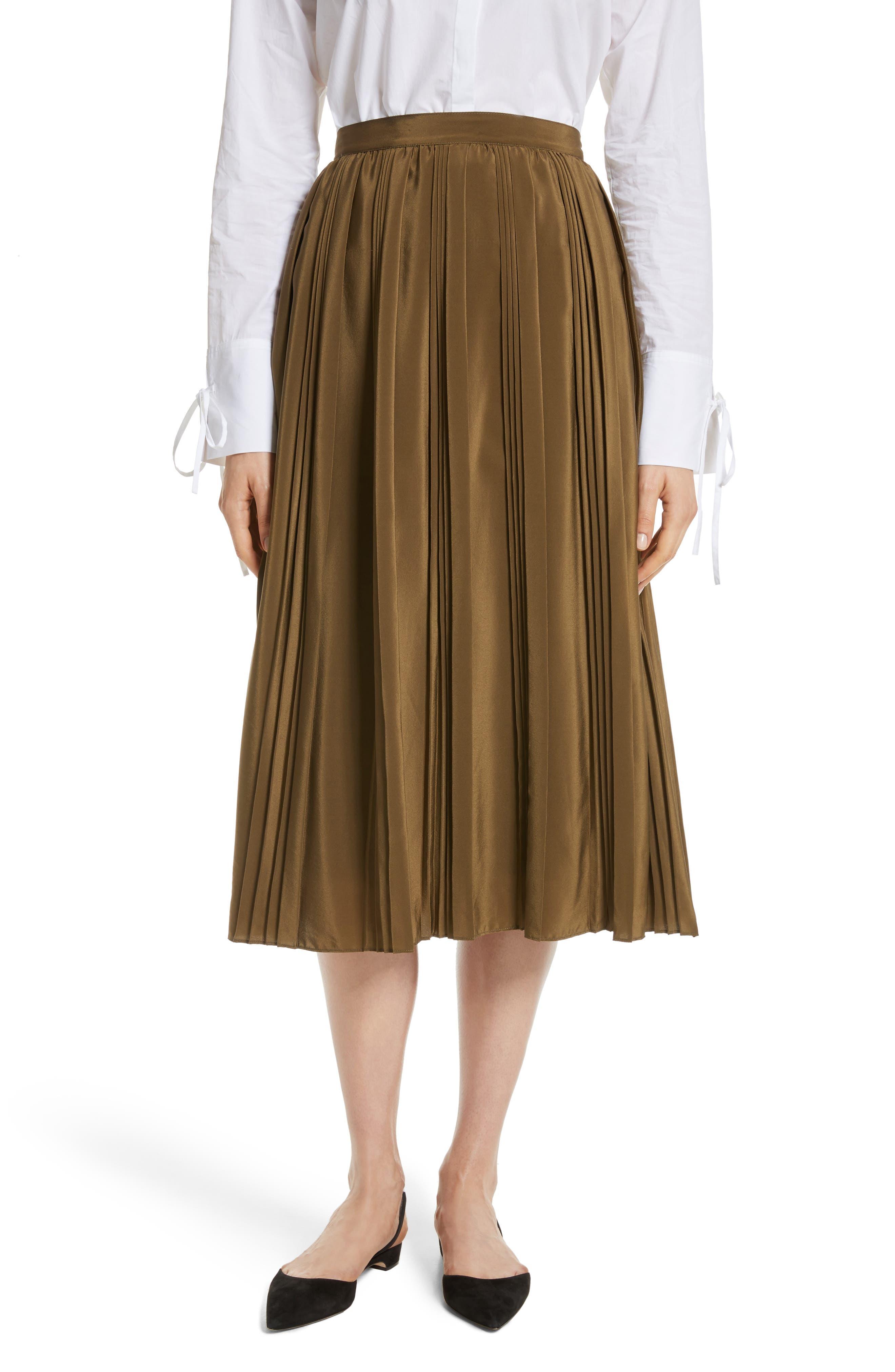 Pleated Silk Skirt,                             Main thumbnail 1, color,                             300