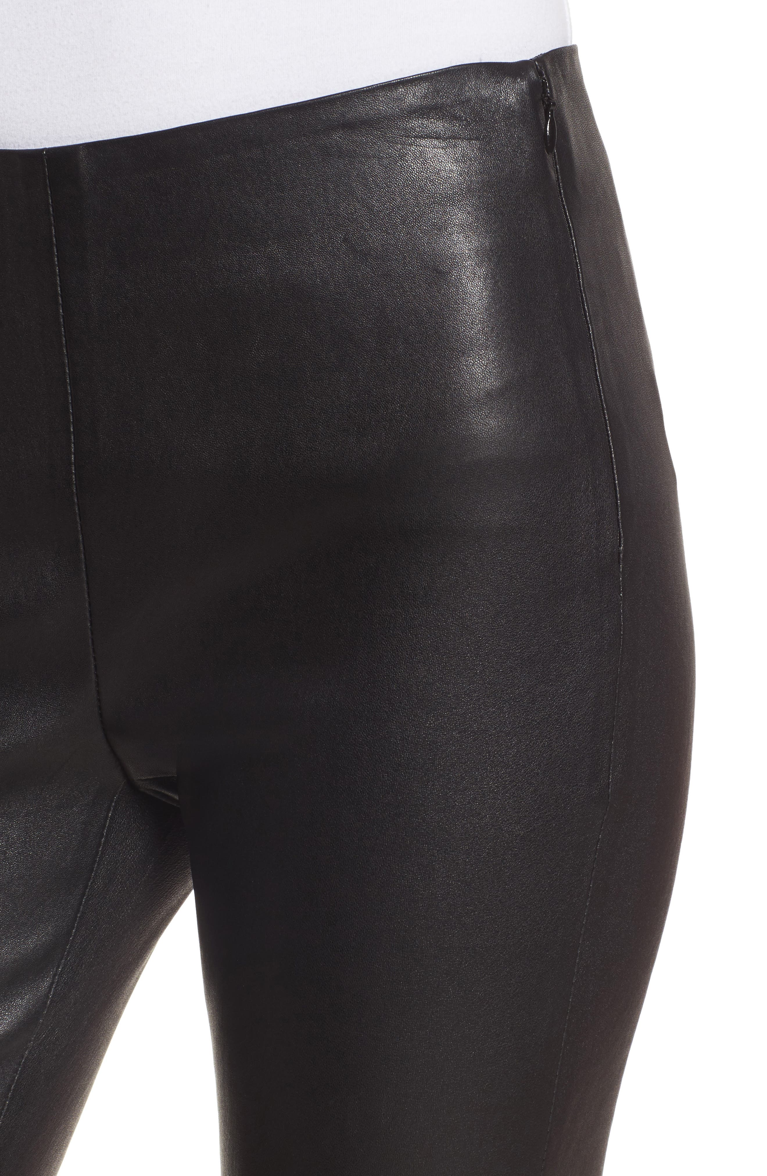 Stretch Leather Leggings,                             Alternate thumbnail 4, color,                             001