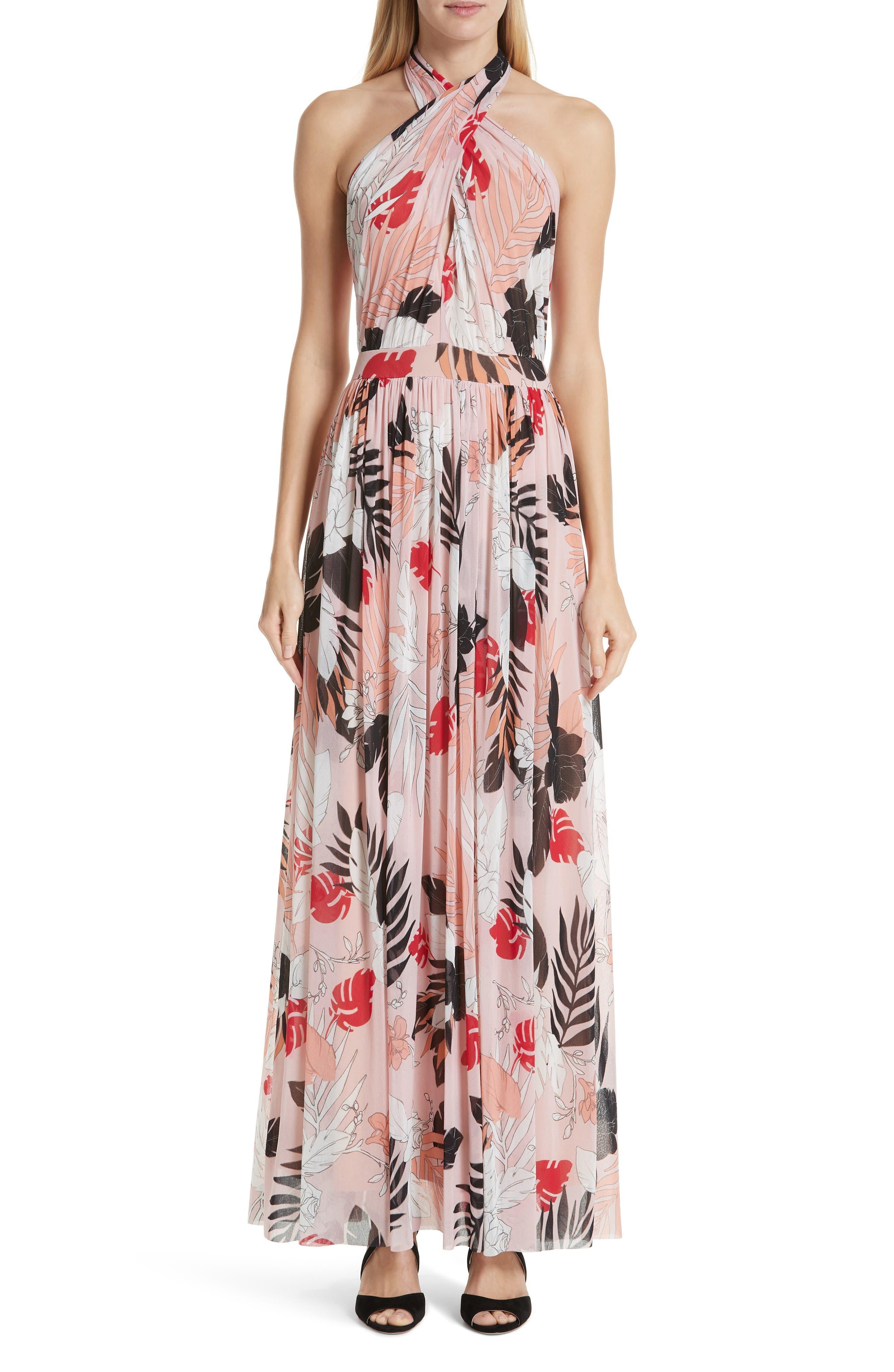 Fuzzi Floral Tulle Cross Halter Maxi Dress, Pink