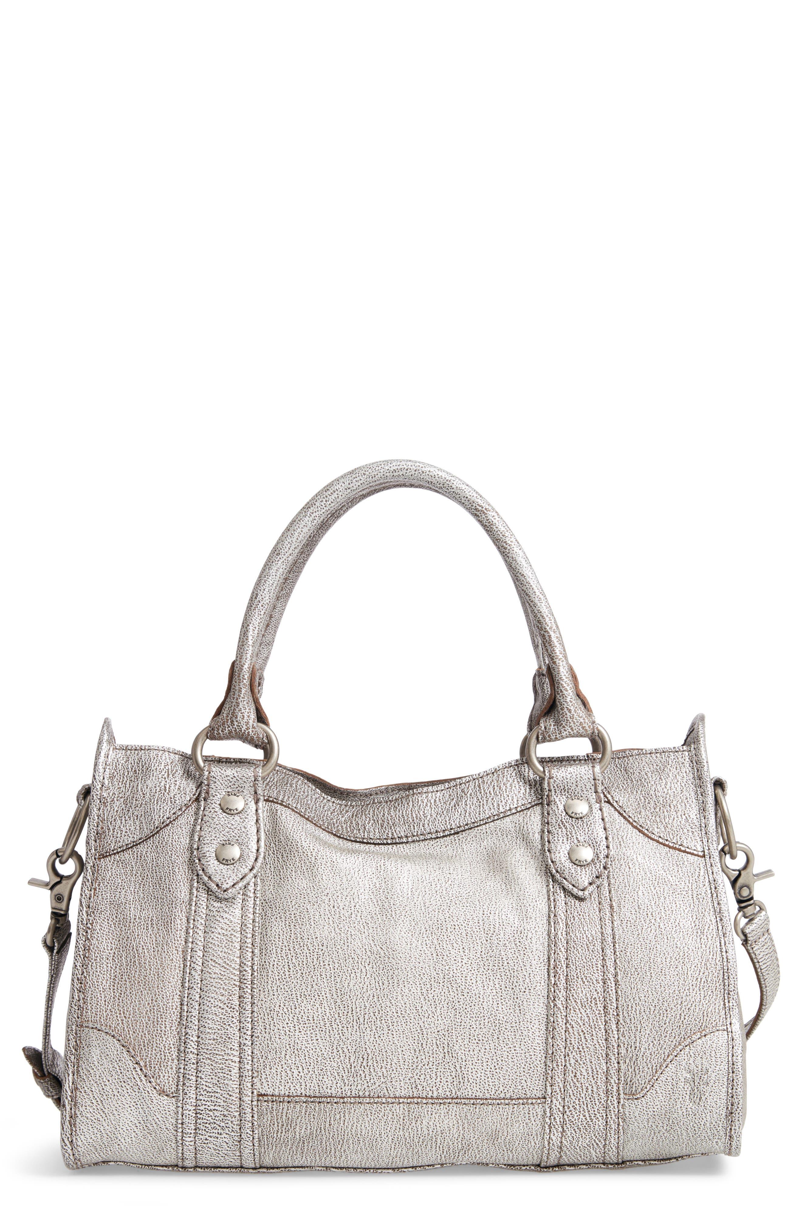 FRYE Melissa Metallic Leather Satchel, Main, color, 040