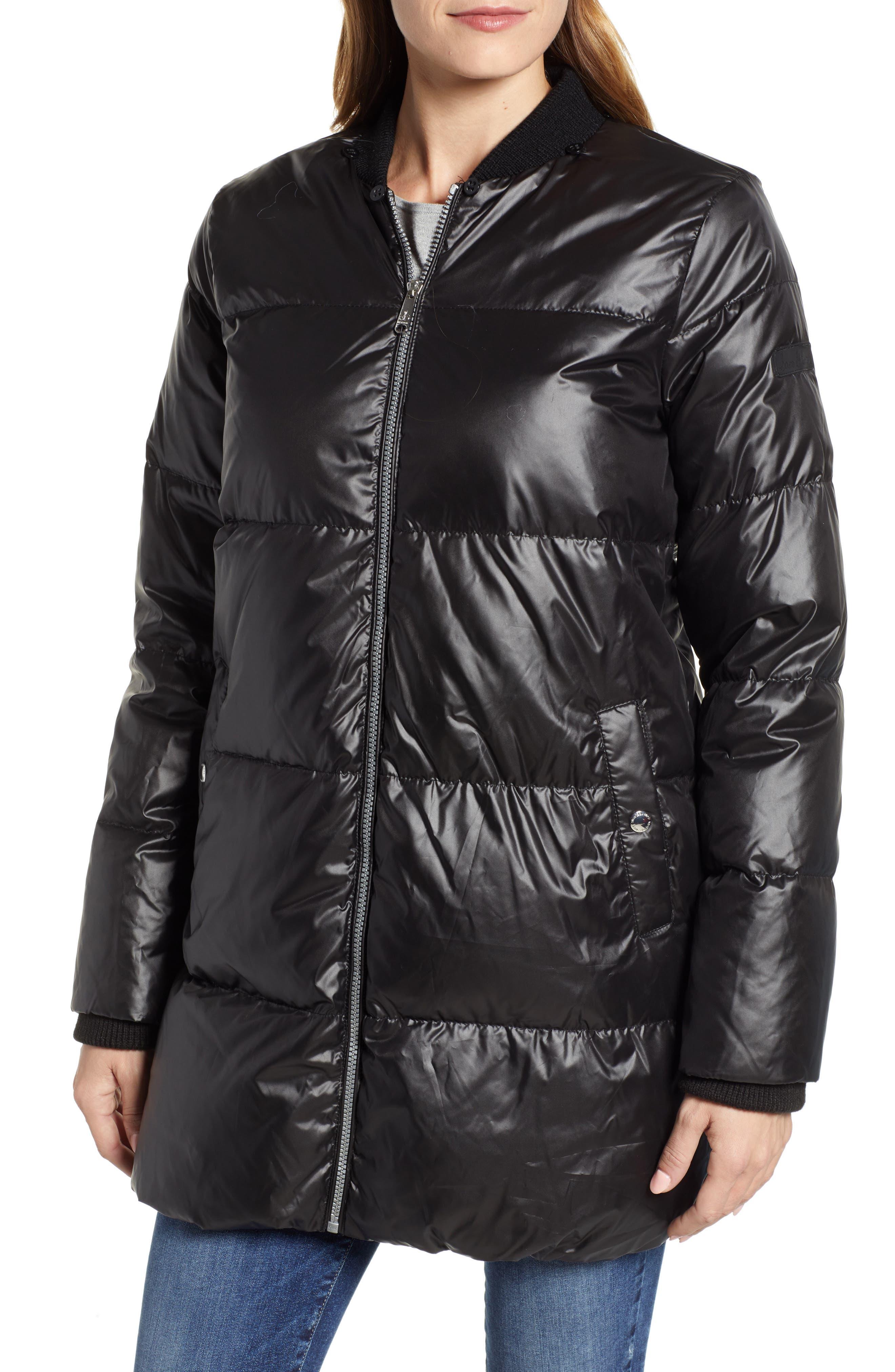 SAM EDELMAN,                             Cire Faux Fur Trim Down Quilted Coat,                             Alternate thumbnail 4, color,                             BLACK