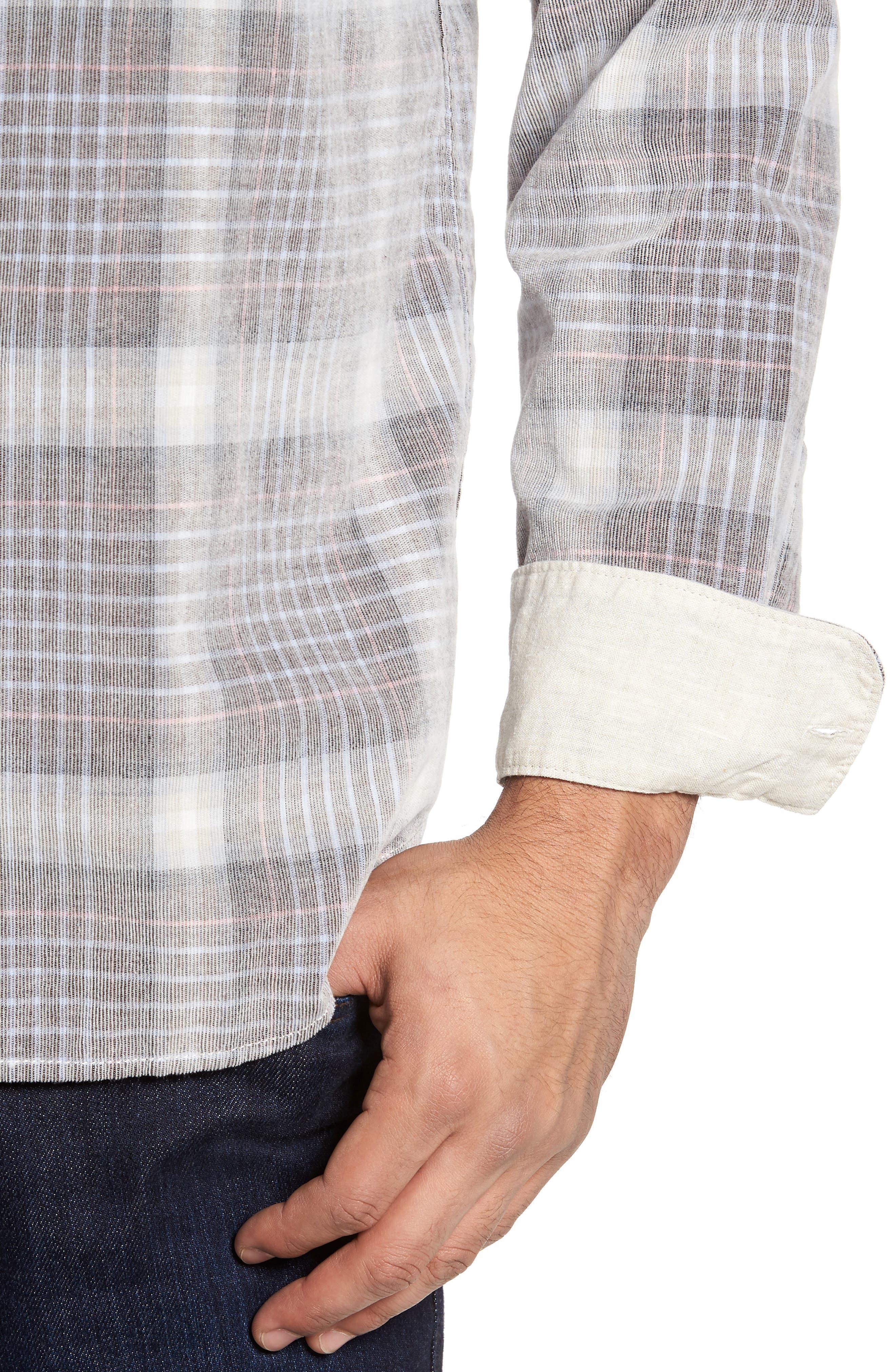 Standard Fit Plaid Sport Shirt,                             Alternate thumbnail 4, color,                             200