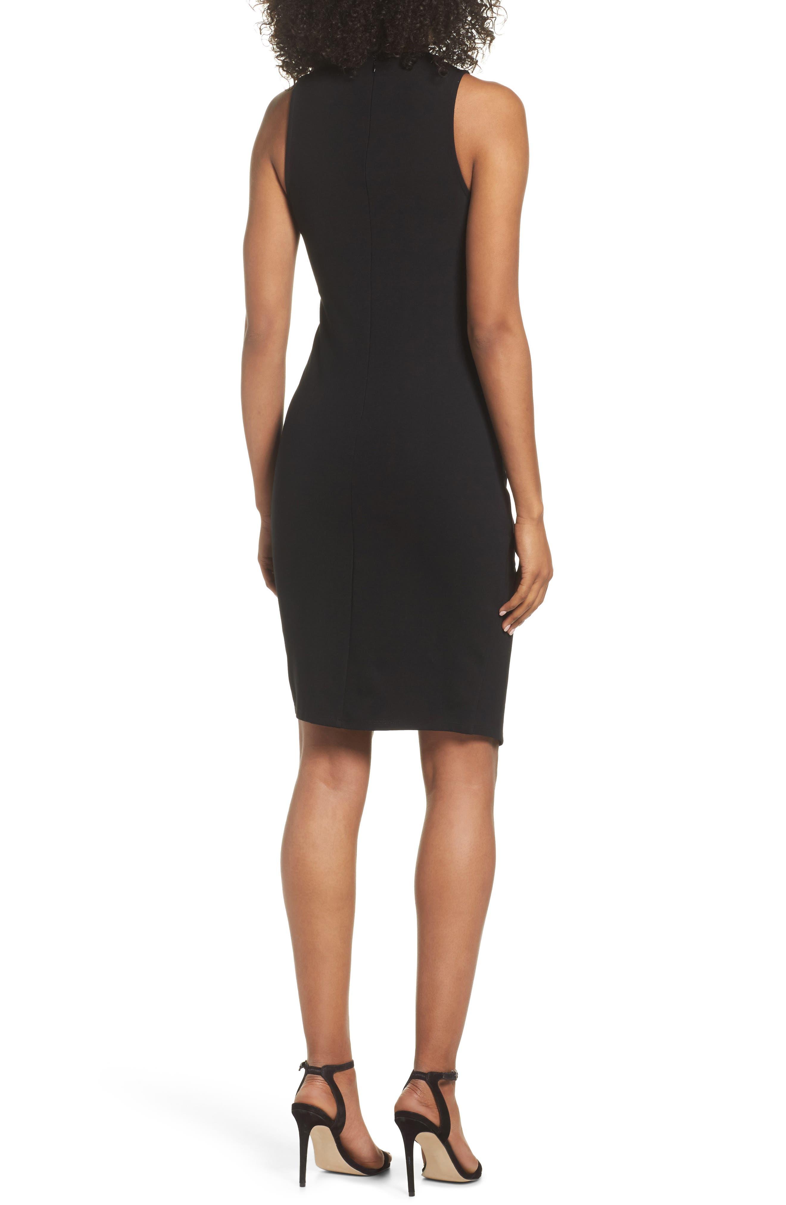 Asymmetric Hem Sheath Dress,                             Alternate thumbnail 2, color,                             001