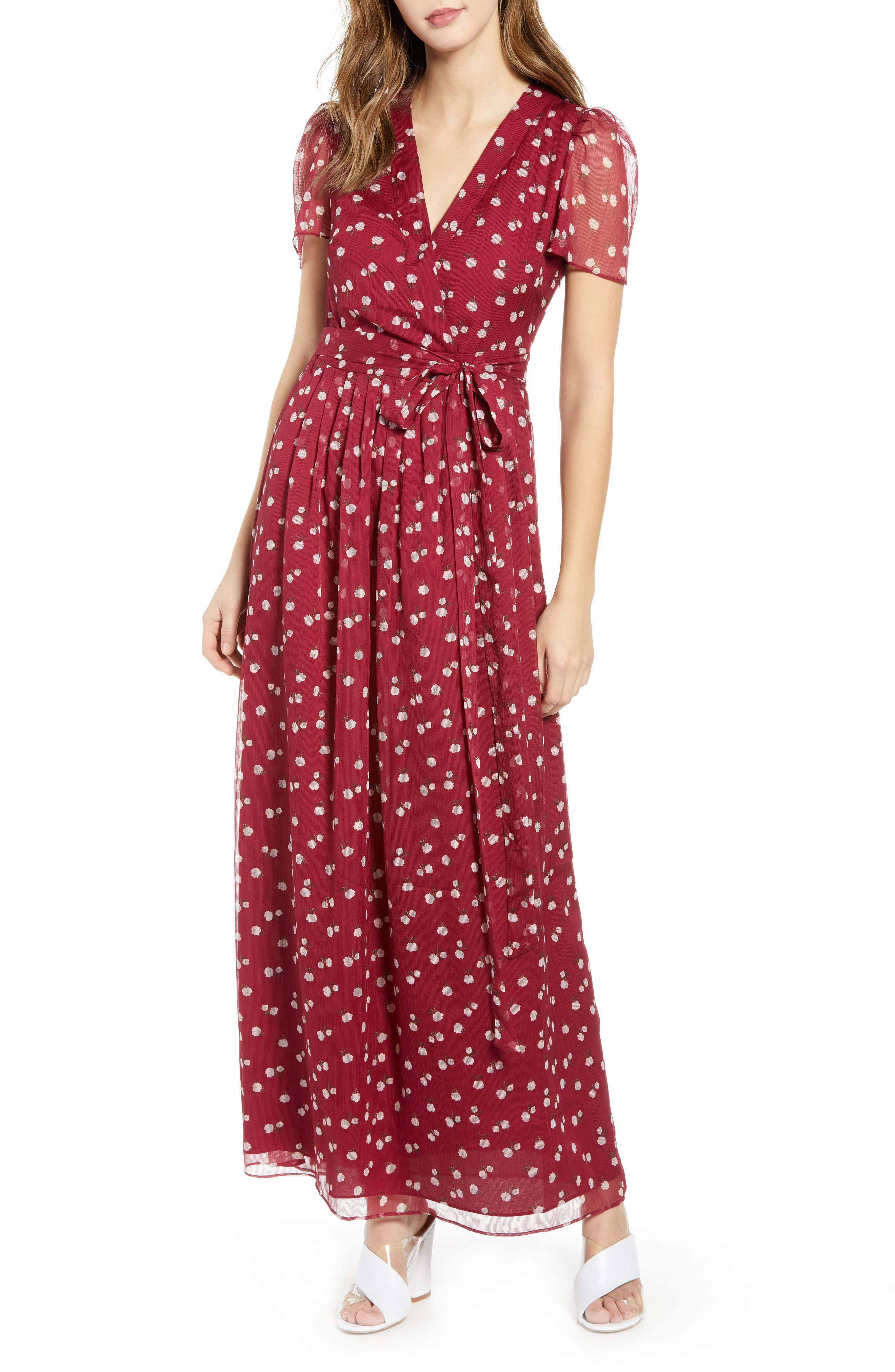 Rhoda Pleated Maxi Dress,                             Main thumbnail 1, color,                             BERRY MINI ROSES
