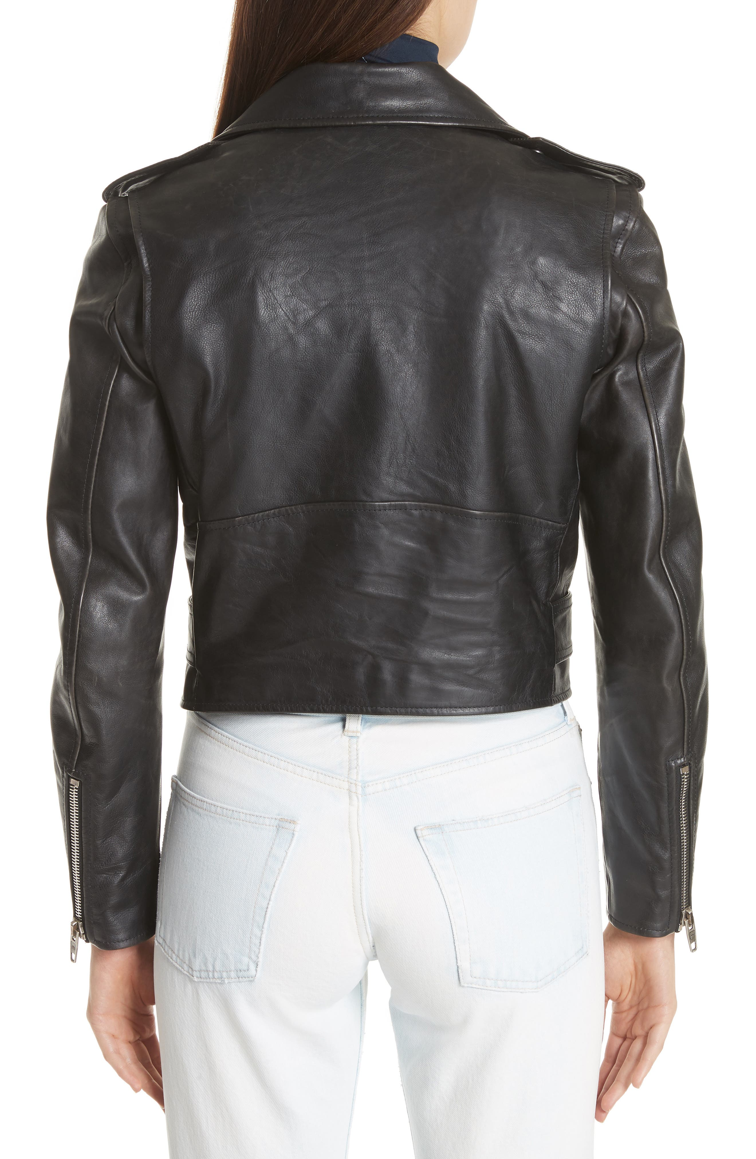 Logo Sleeve Leather Moto Jacket,                             Alternate thumbnail 2, color,                             BLACK
