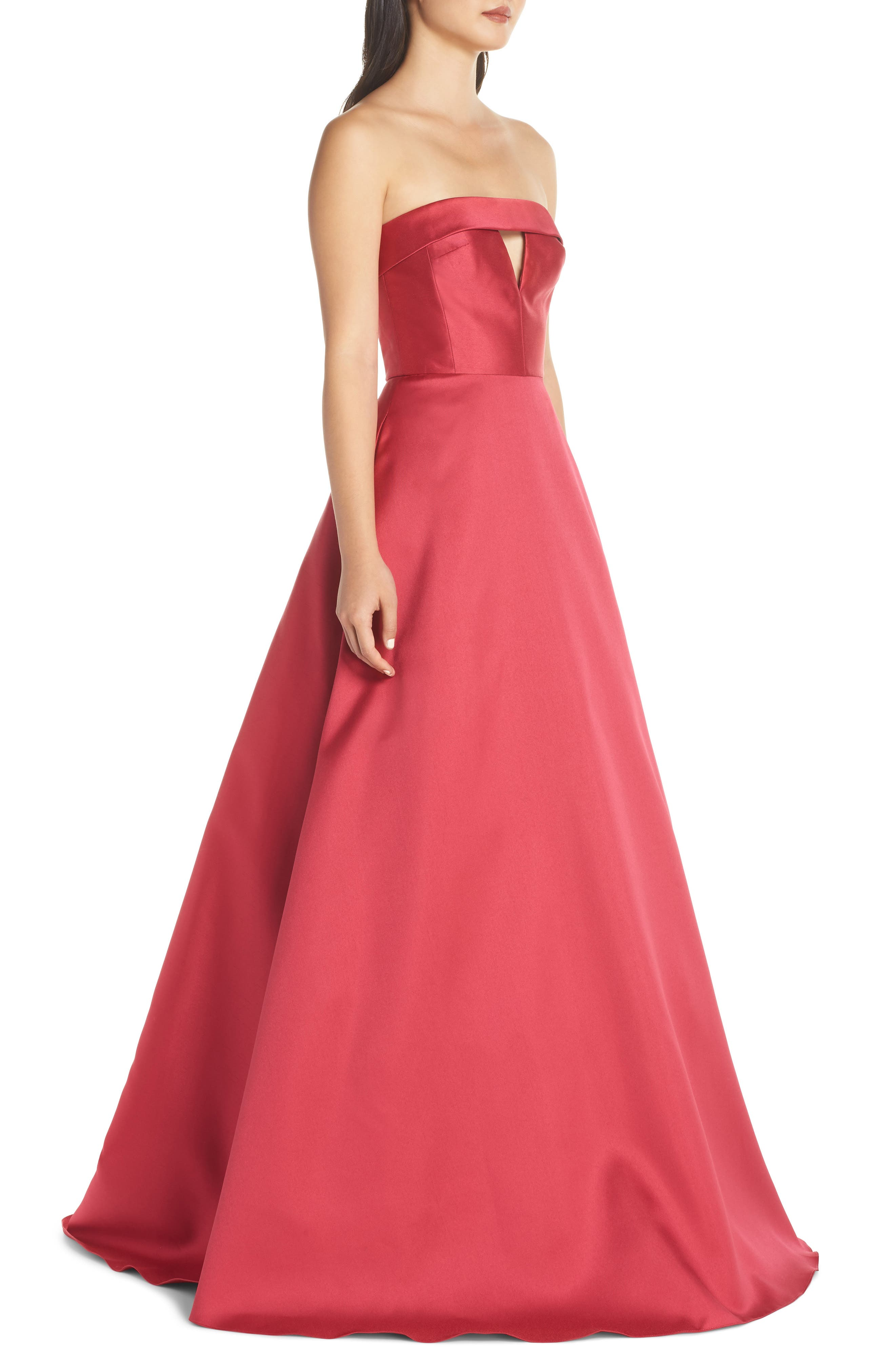 Strapless Satin Ballgown,                             Alternate thumbnail 3, color,                             DEEP PINK