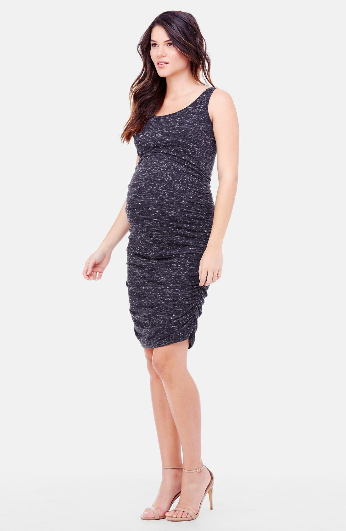 'Marble' Ruched Maternity Dress,                             Alternate thumbnail 3, color,                             BLACK MARBLE