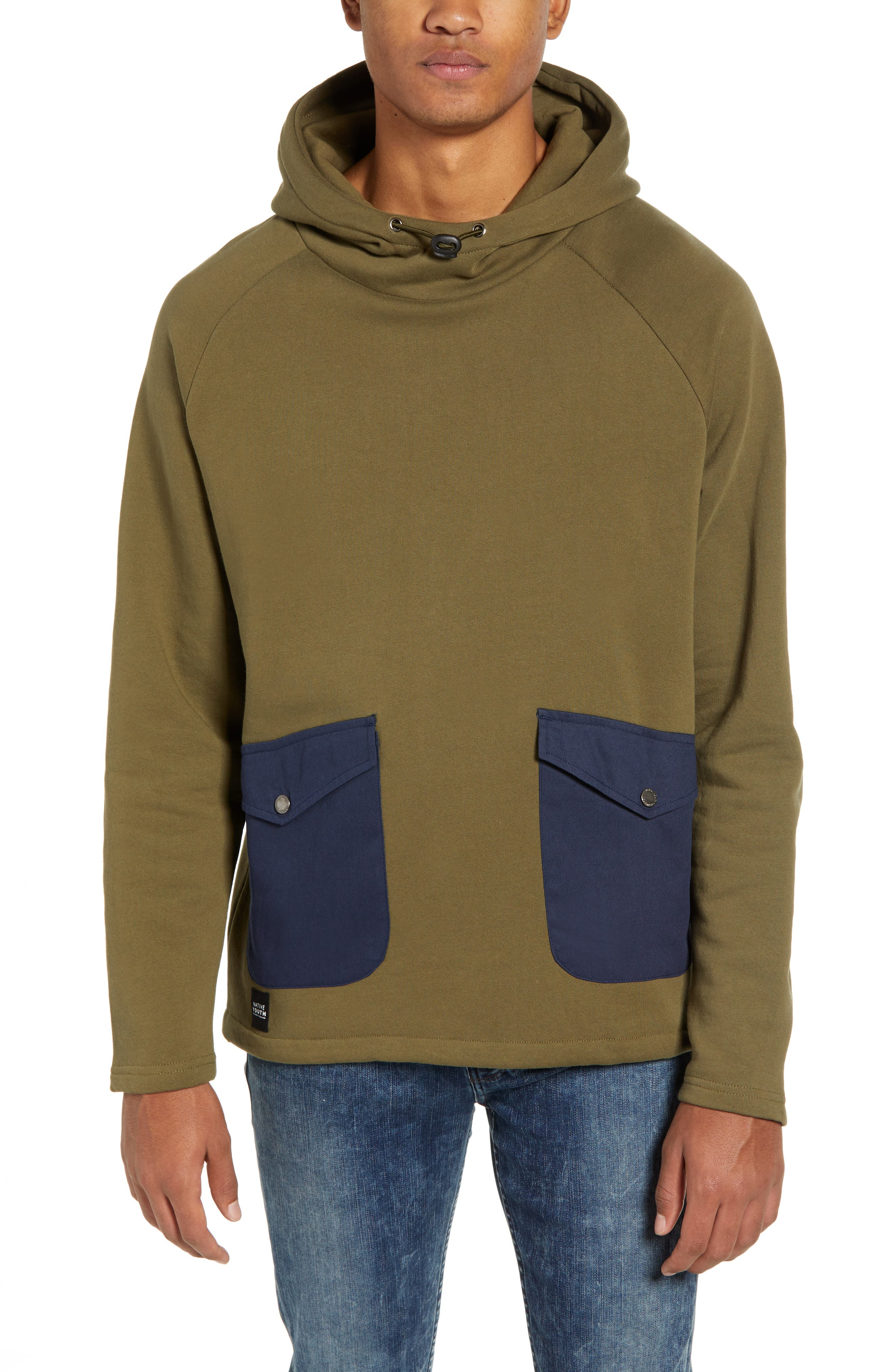 NATIVE YOUTH Patch Pocket Pullover Hoodie in Olive