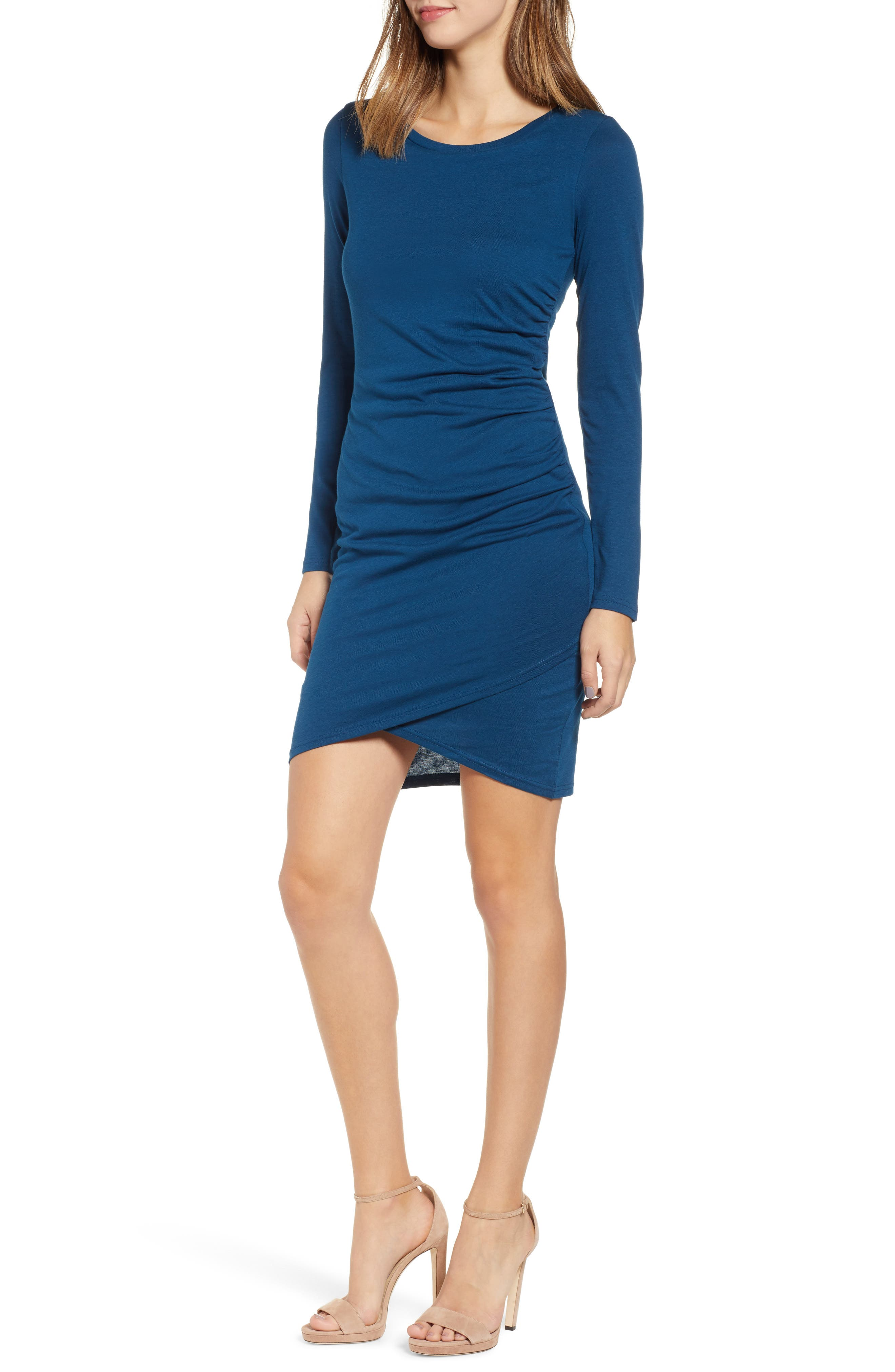Ruched Long Sleeve Dress,                             Main thumbnail 1, color,                             BLUE AURORA