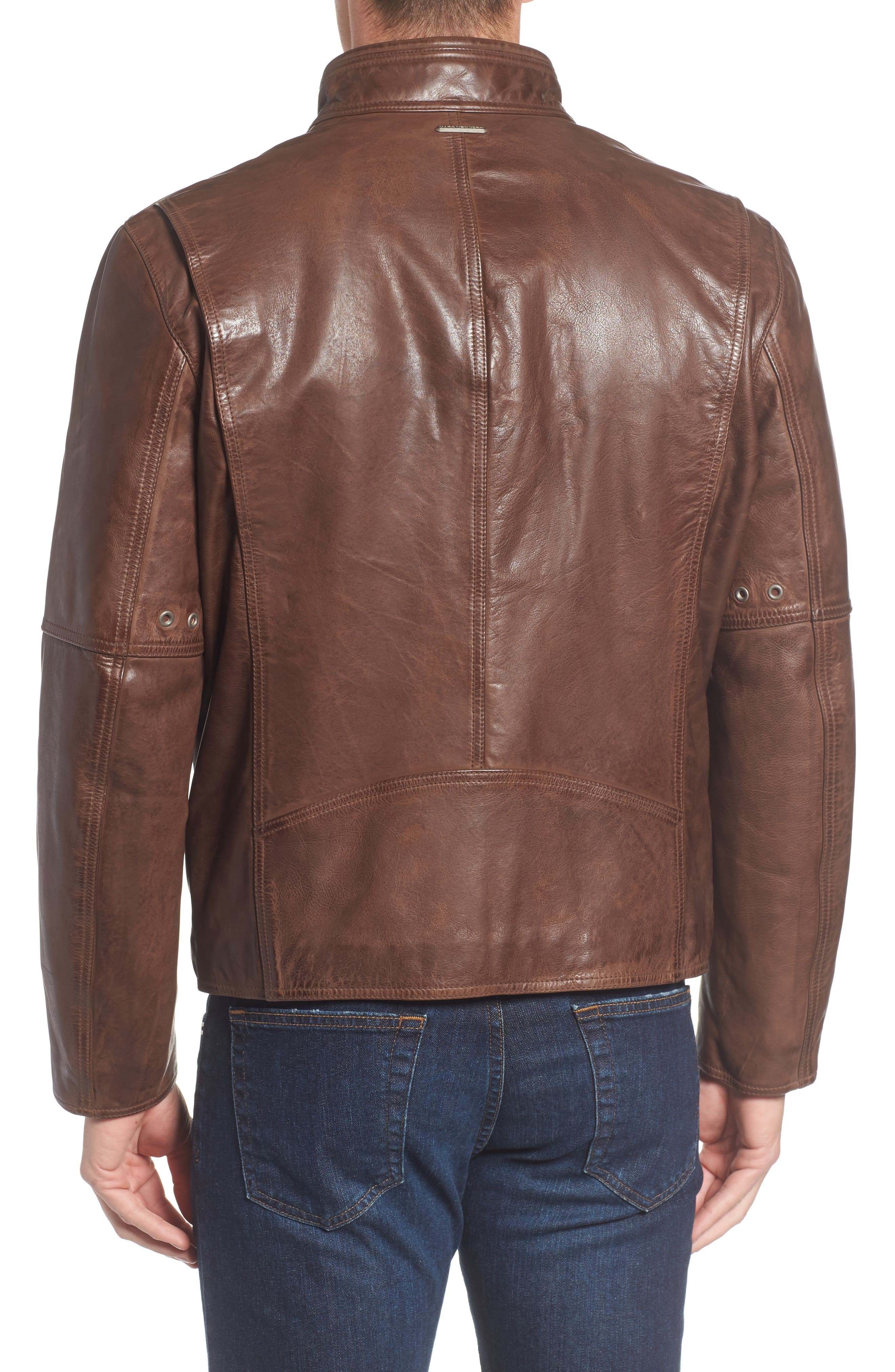 Calfskin Leather Moto Jacket,                             Alternate thumbnail 4, color,