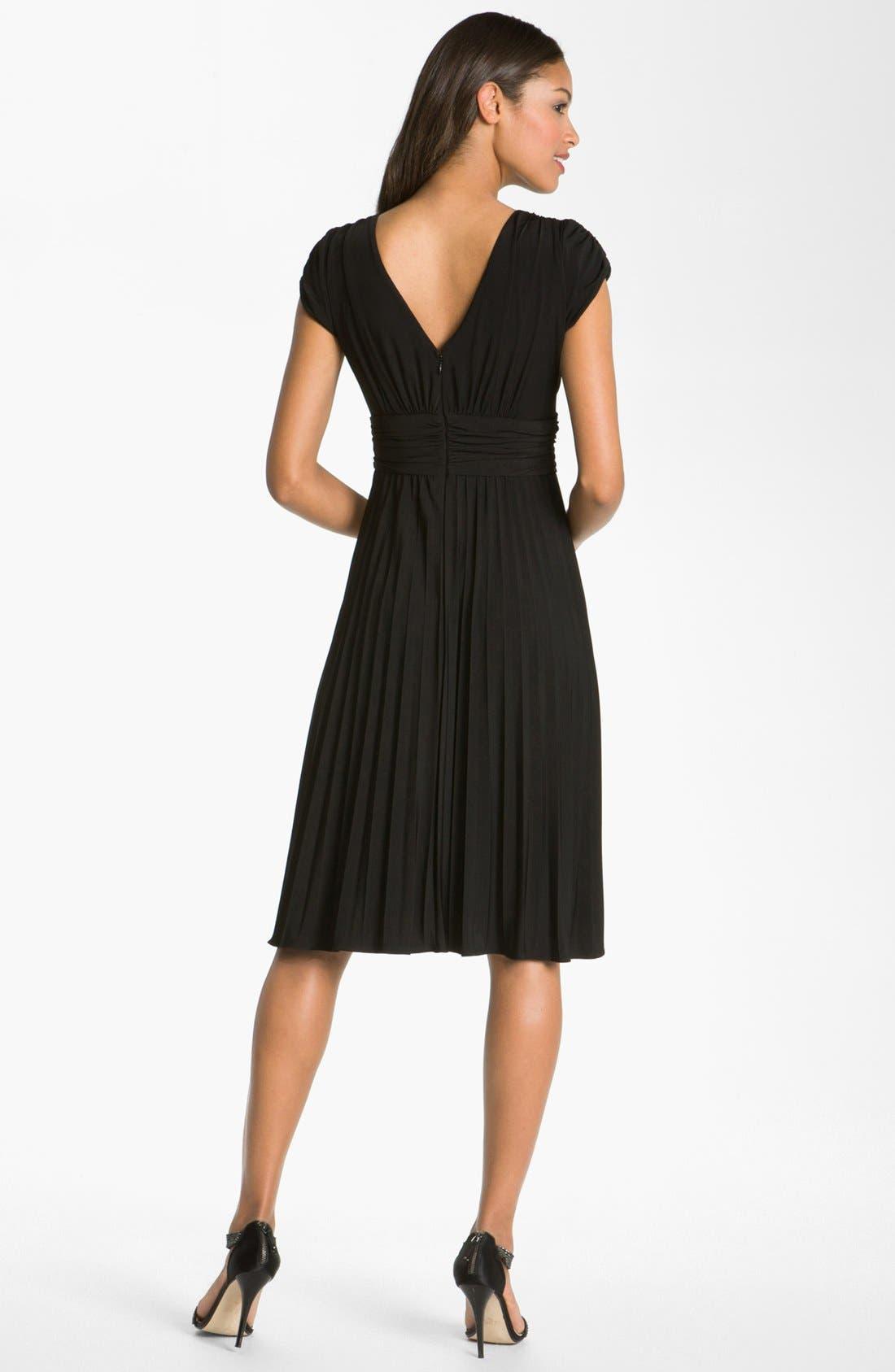 'Sunburst' Pleated Jersey Fit & Flare Dress,                             Alternate thumbnail 3, color,                             001