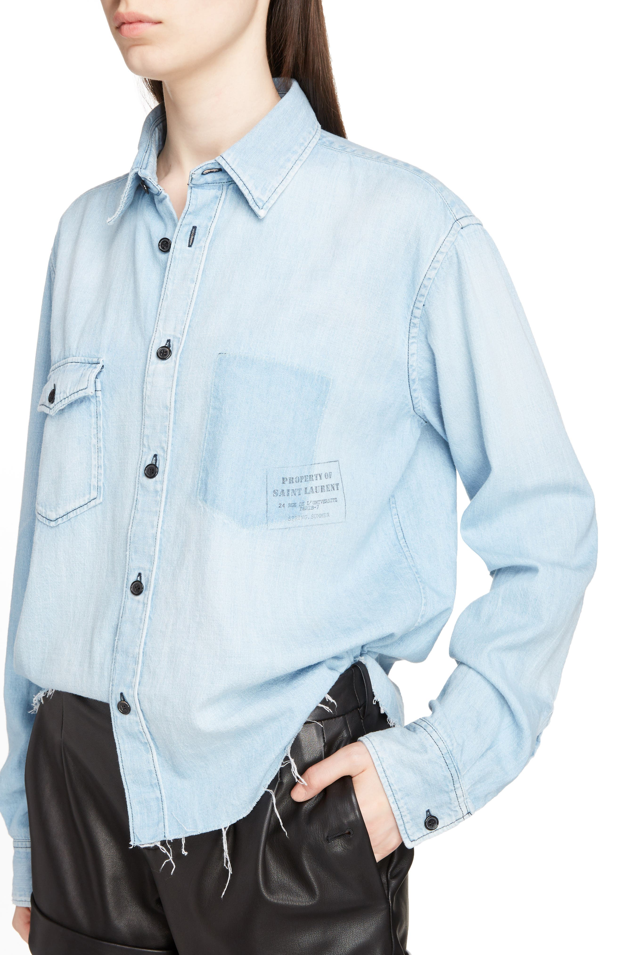 Logo Stamp Denim Shirt,                             Alternate thumbnail 4, color,                             410