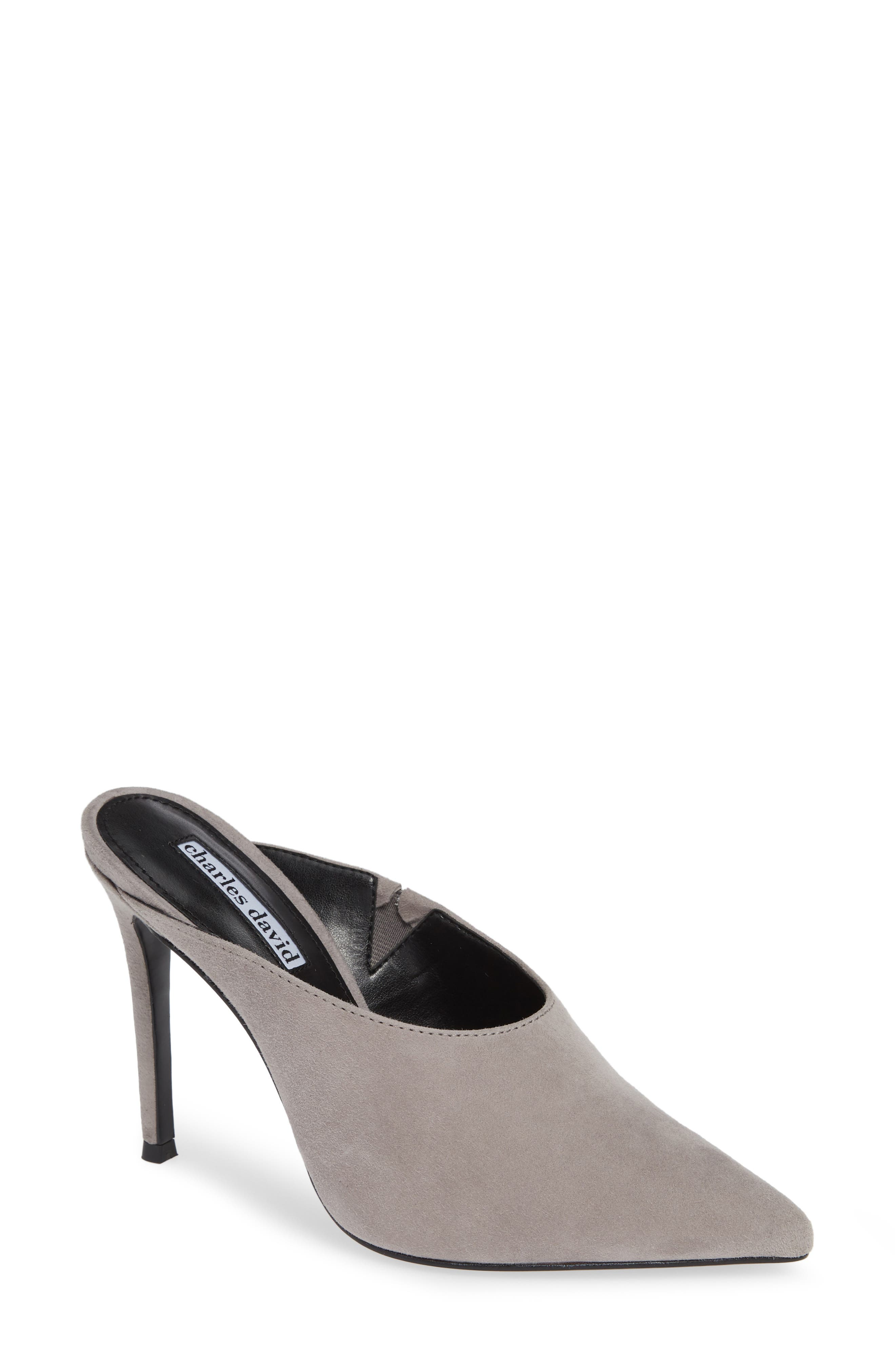 CHARLES DAVID Women'S Carlyle Pointed Toe Suede High-Heel Mules in Grey Suede