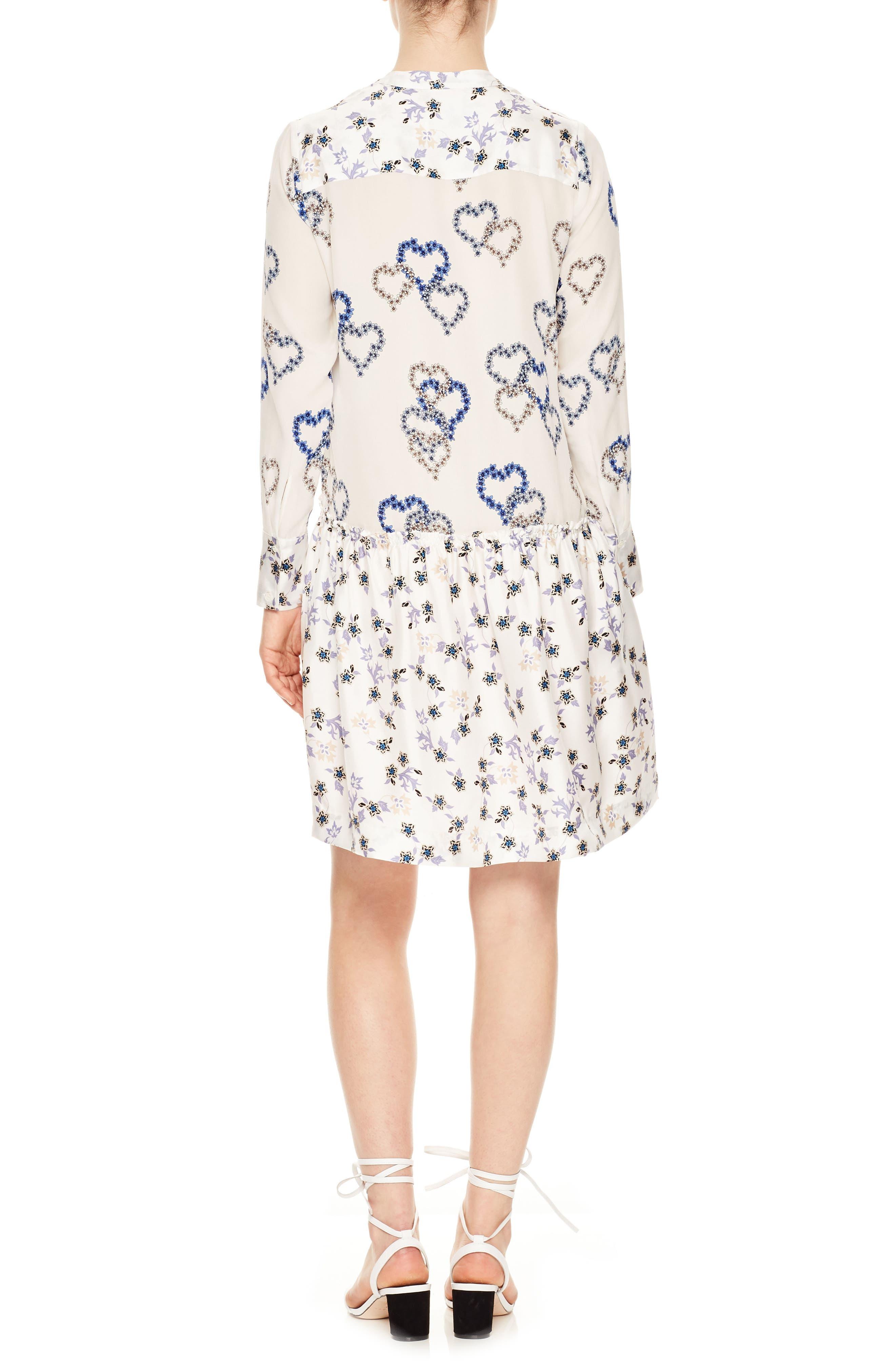 Floral Hearts Silk Dress,                             Alternate thumbnail 2, color,                             100