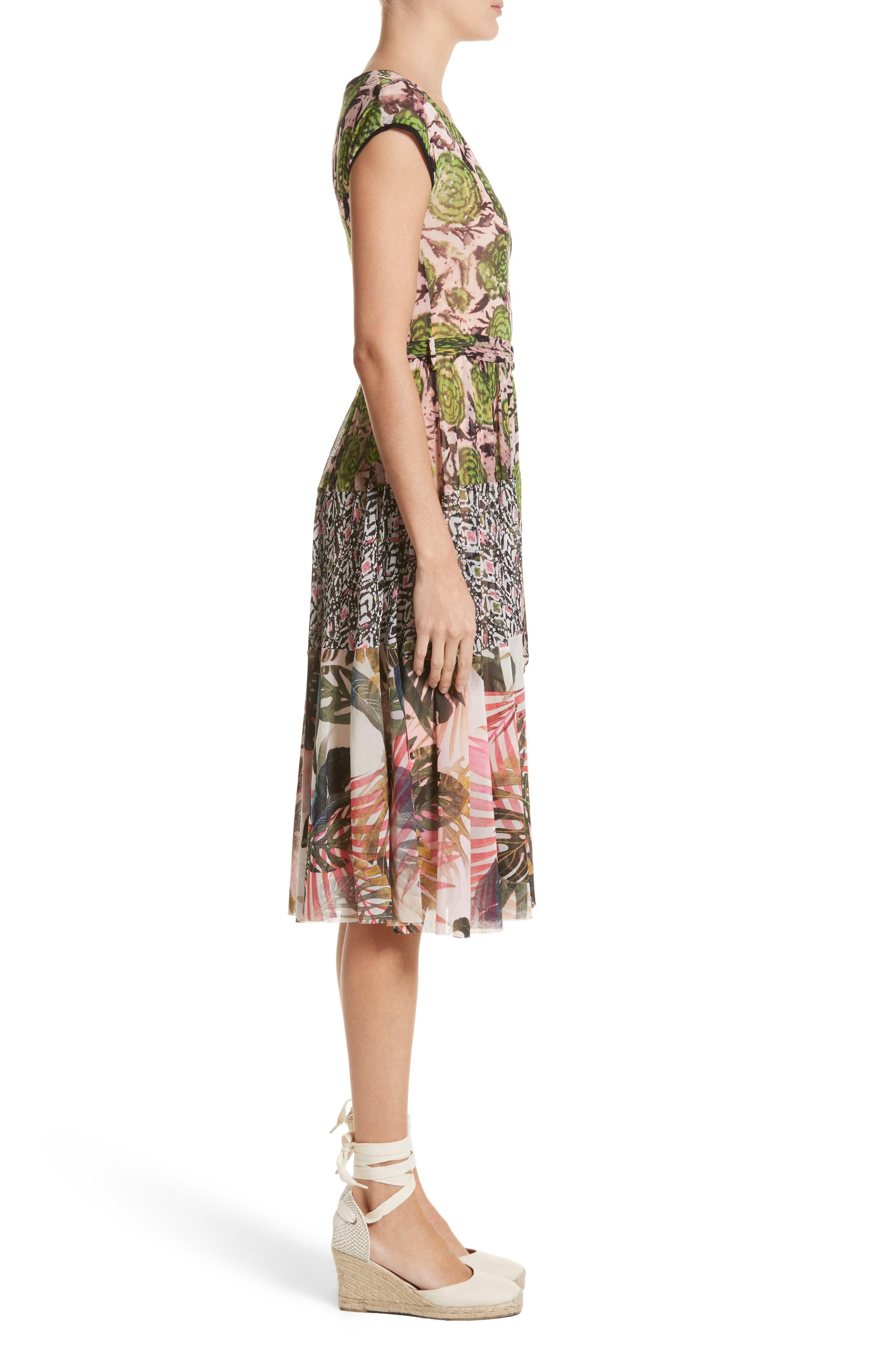 Patchwork Print Tulle Dress,                             Alternate thumbnail 3, color,                             300