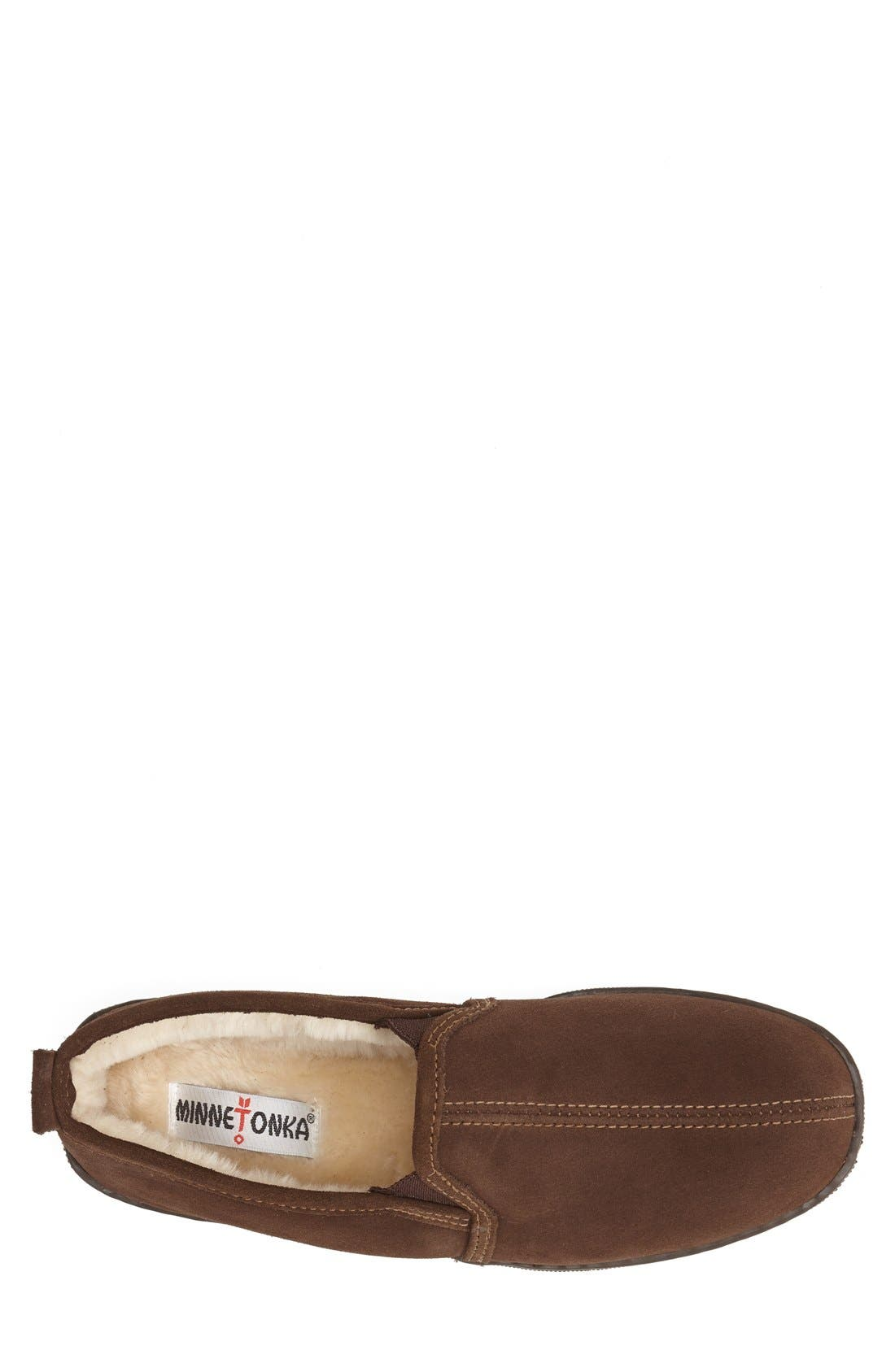 Suede Slipper,                             Alternate thumbnail 3, color,                             CHOCOLATE