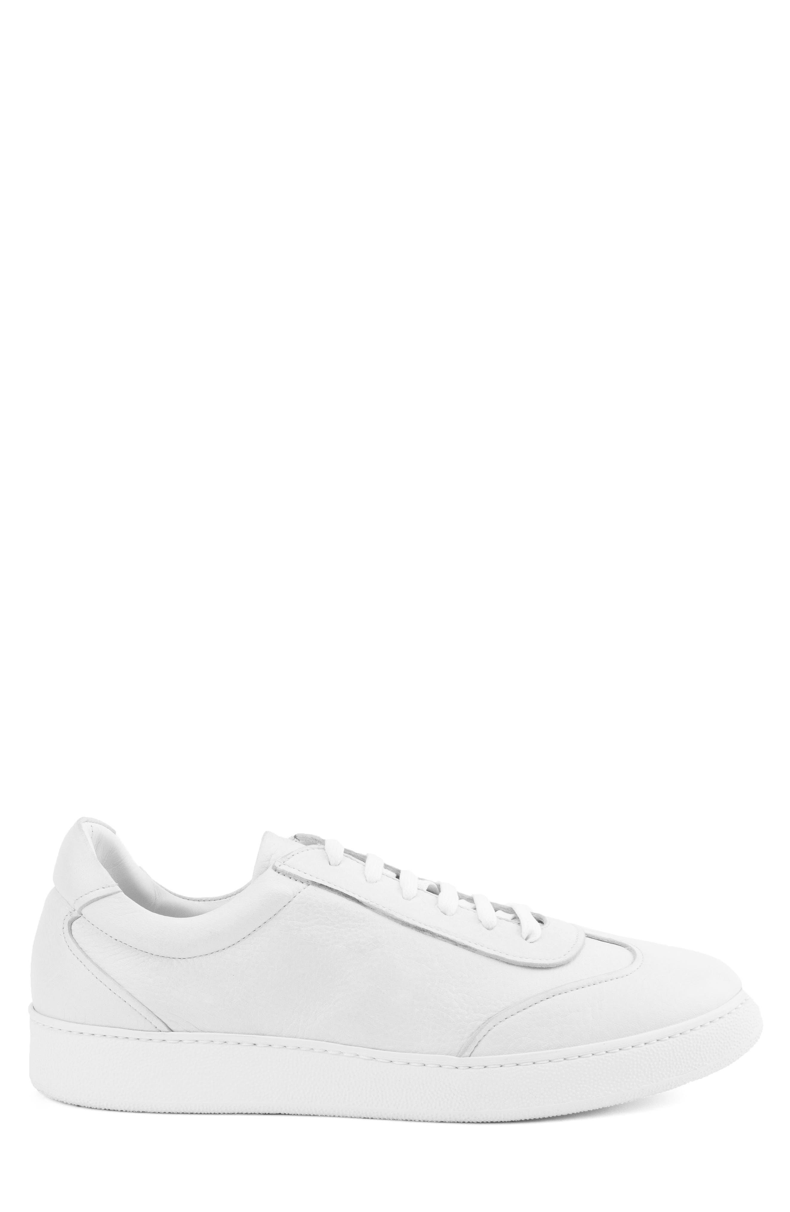 Tristan Sneaker,                             Alternate thumbnail 3, color,                             WHITE LEATHER