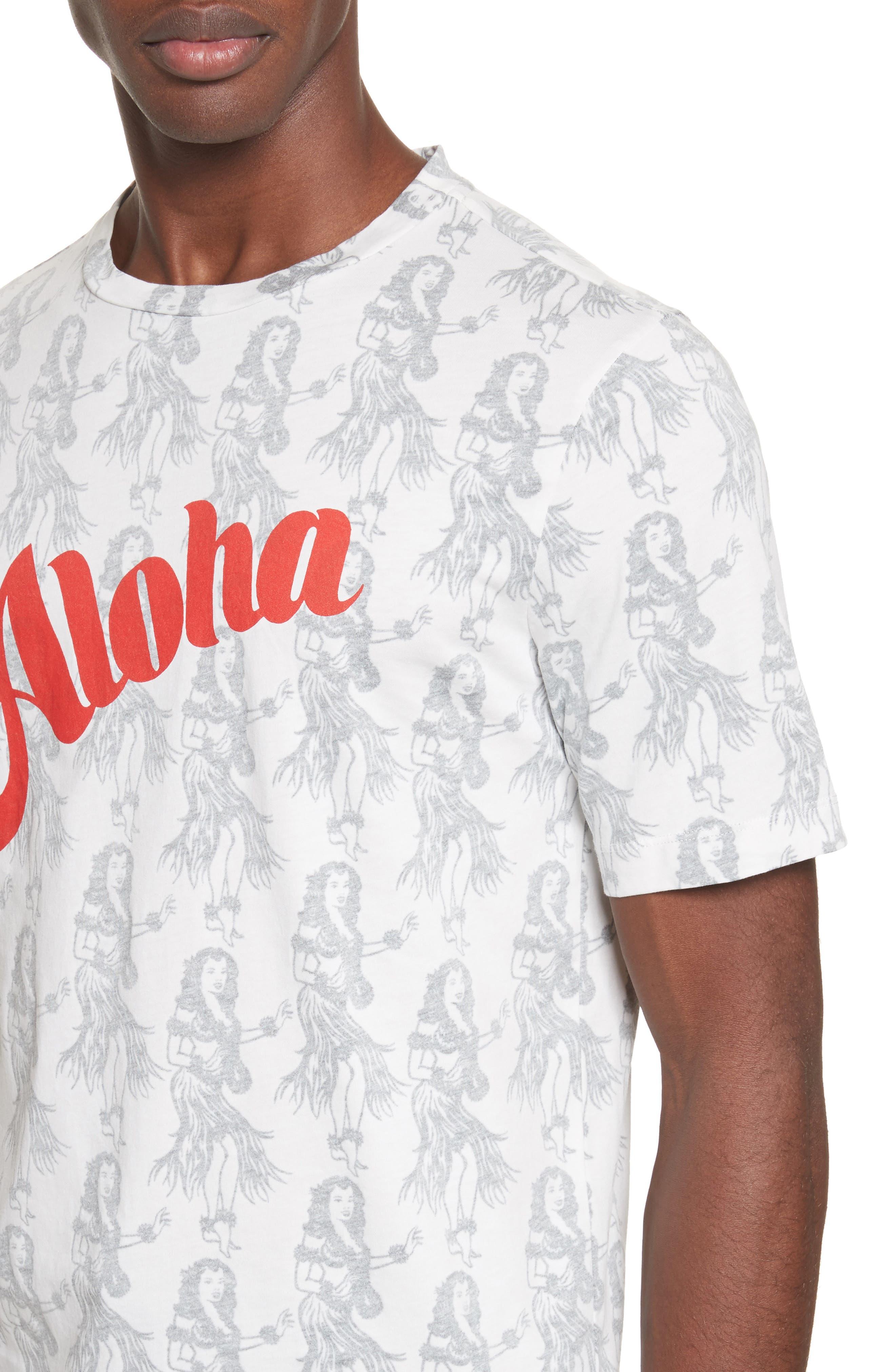 Aloha Print T-Shirt,                             Alternate thumbnail 4, color,