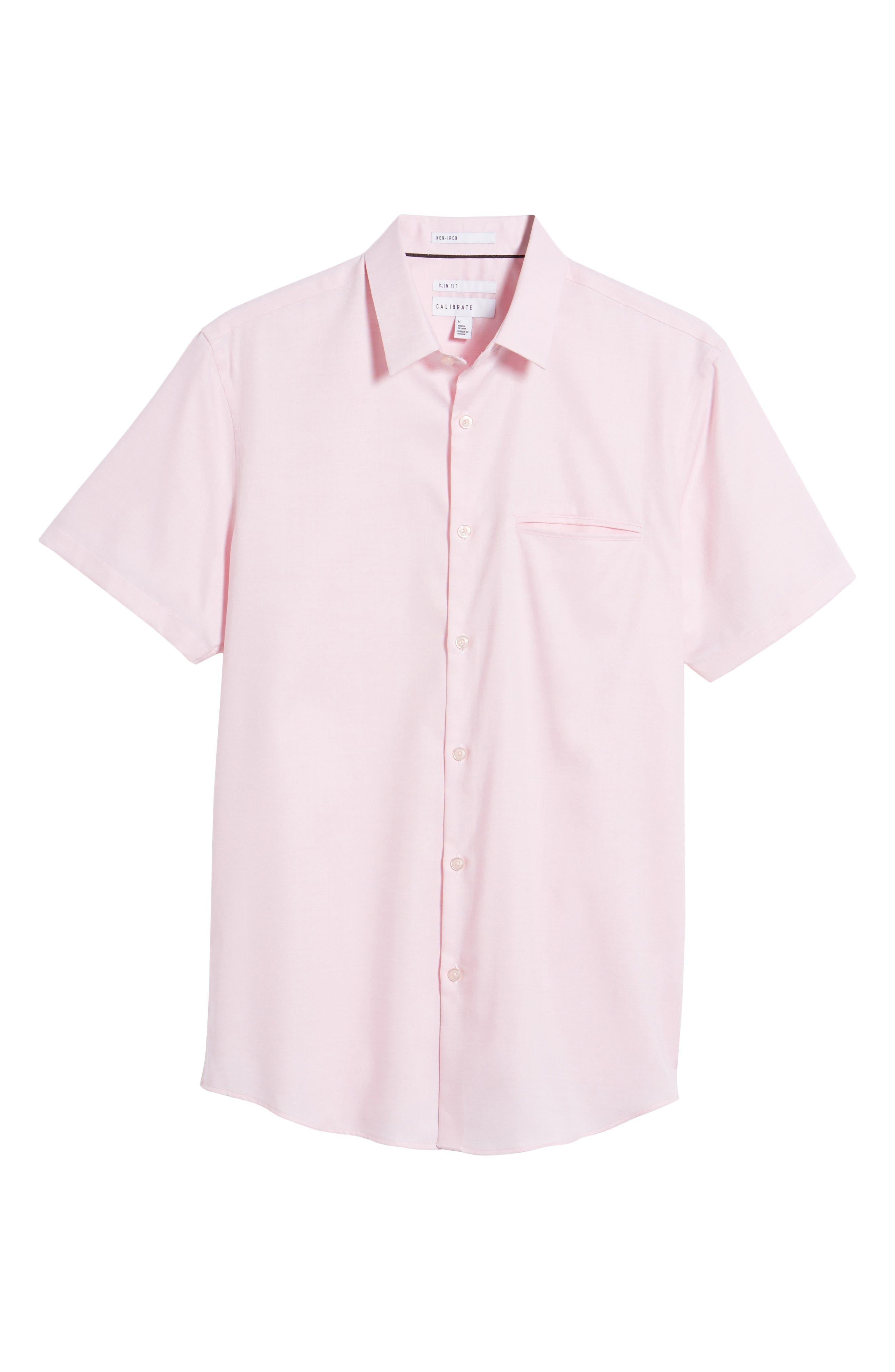 Trim Fit Jaspé Short Sleeve Sport Shirt,                             Alternate thumbnail 18, color,