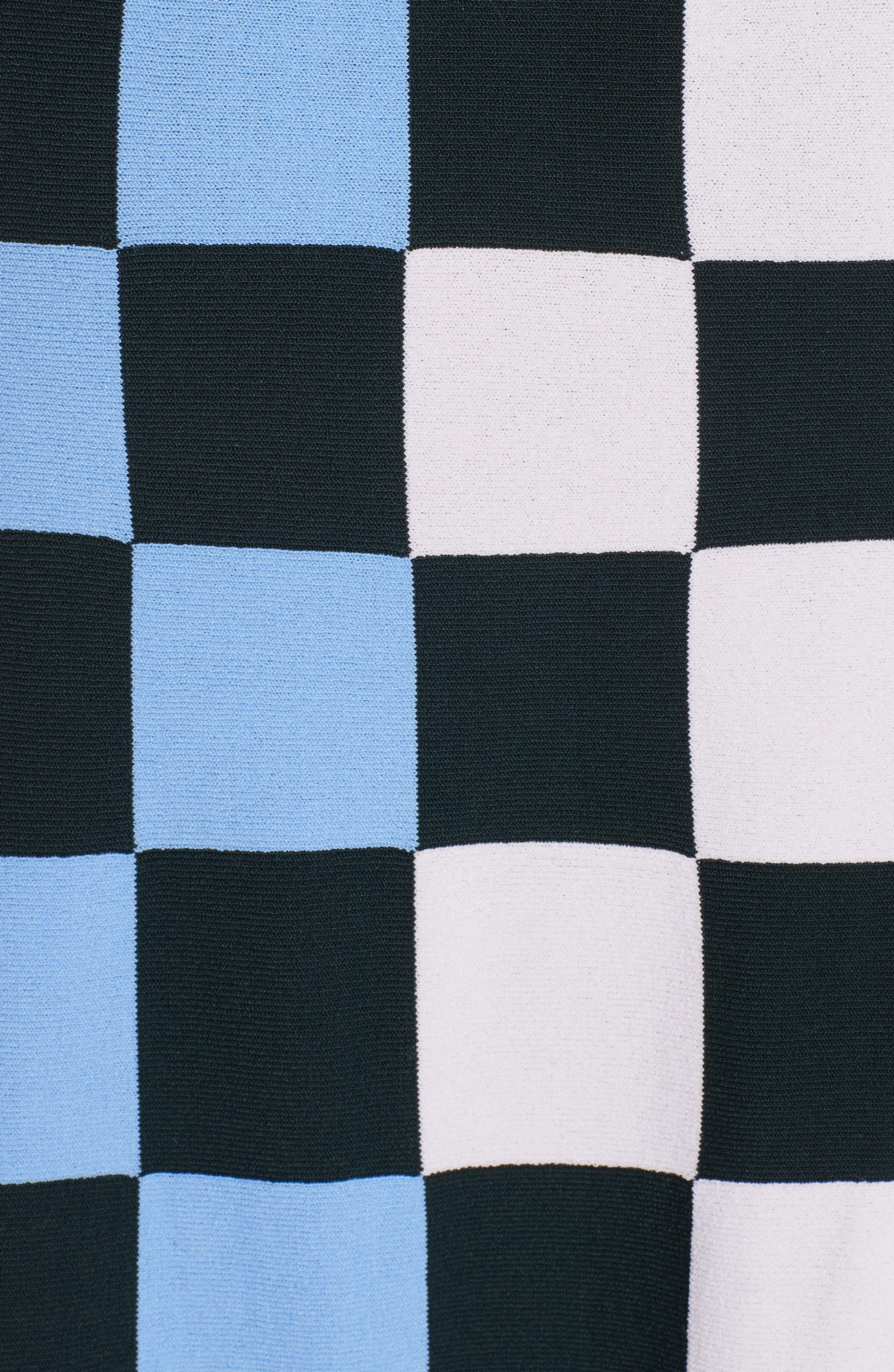 Check Tech Knit Skirt,                             Alternate thumbnail 5, color,                             CHECK STRIPE ALLOVER MULTI