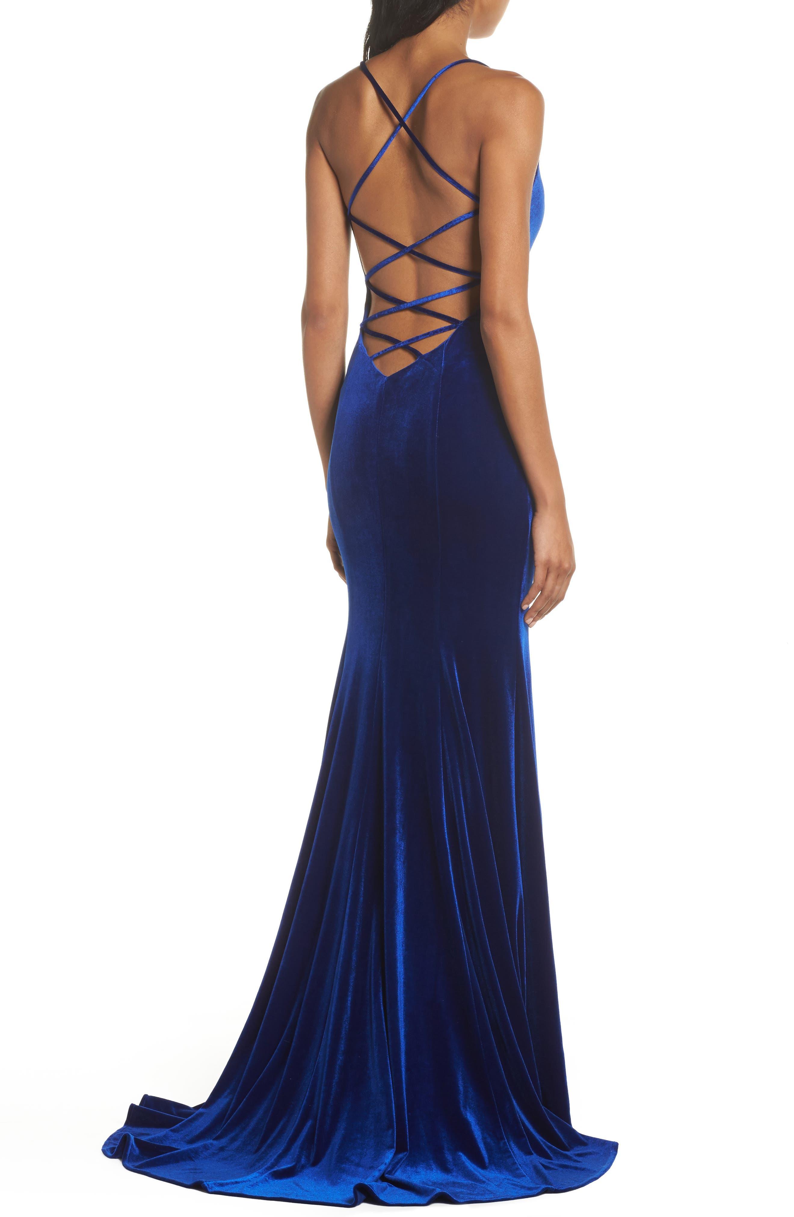 Crisscross Back Velvet Gown,                             Alternate thumbnail 2, color,                             ROYAL BLUE