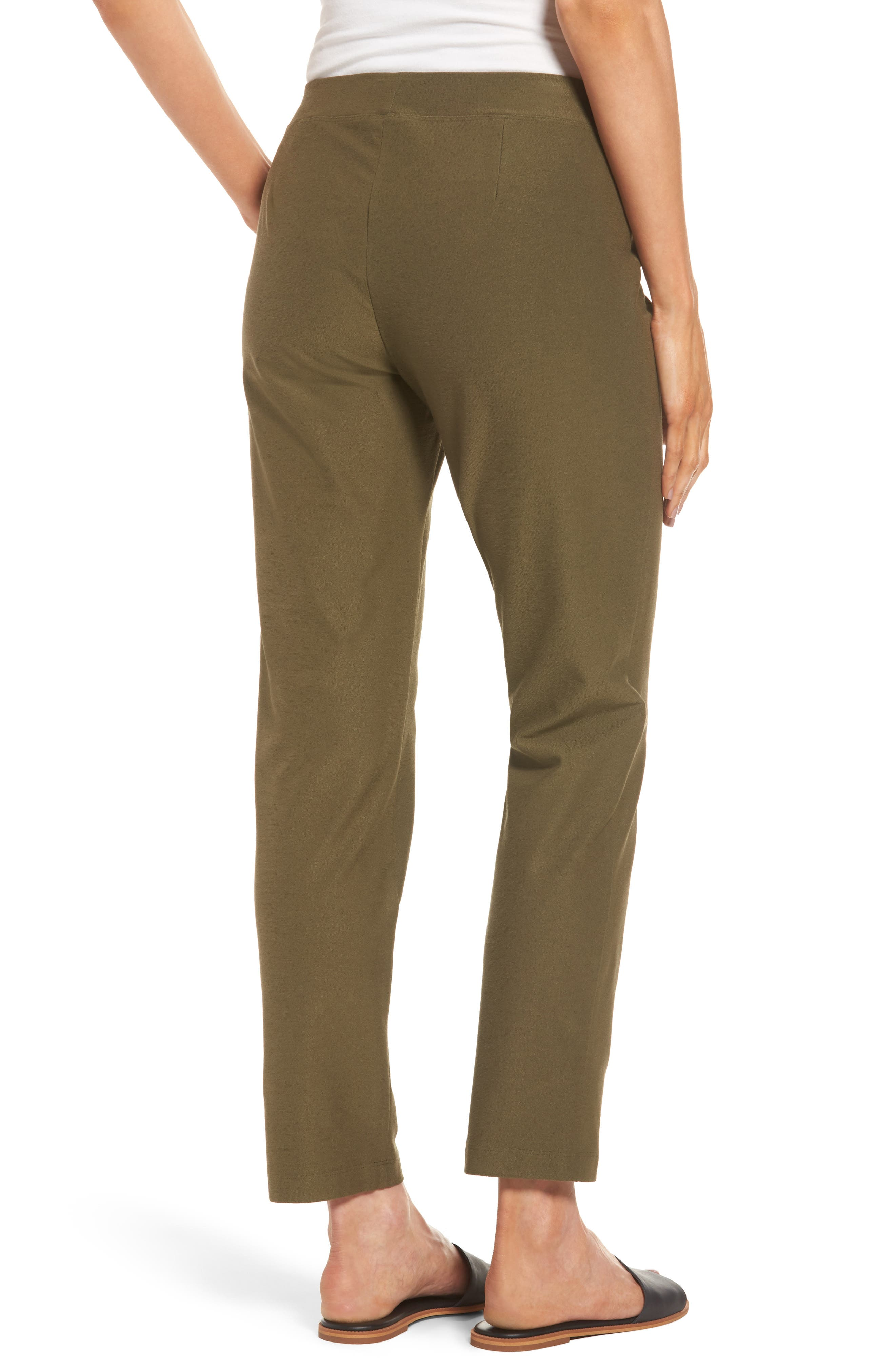 Stretch Crepe Slim Ankle Pants,                             Alternate thumbnail 2, color,                             OLIVE